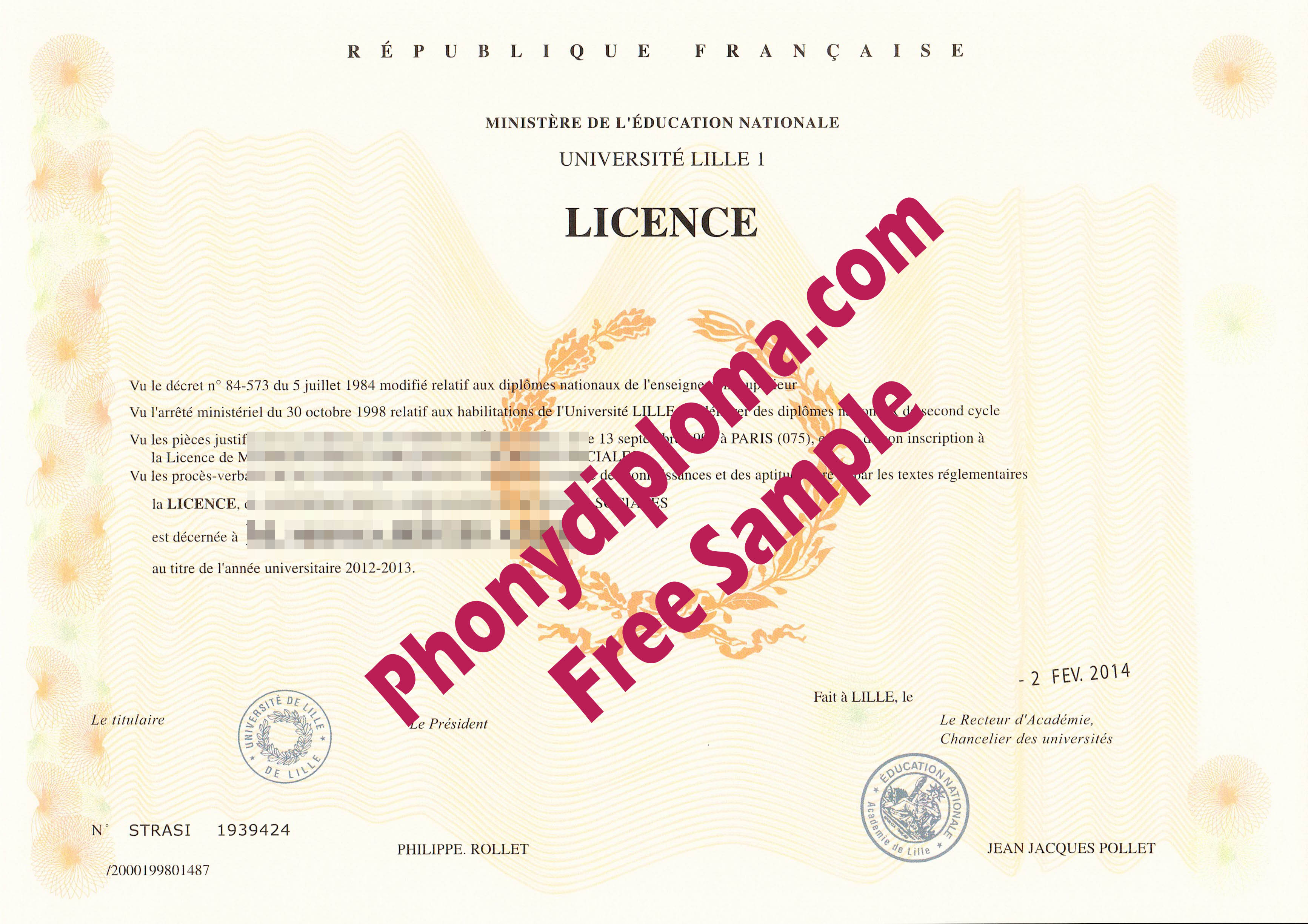 Universite Lille 1 France Licence Scan Free Sample From Phonydiploma