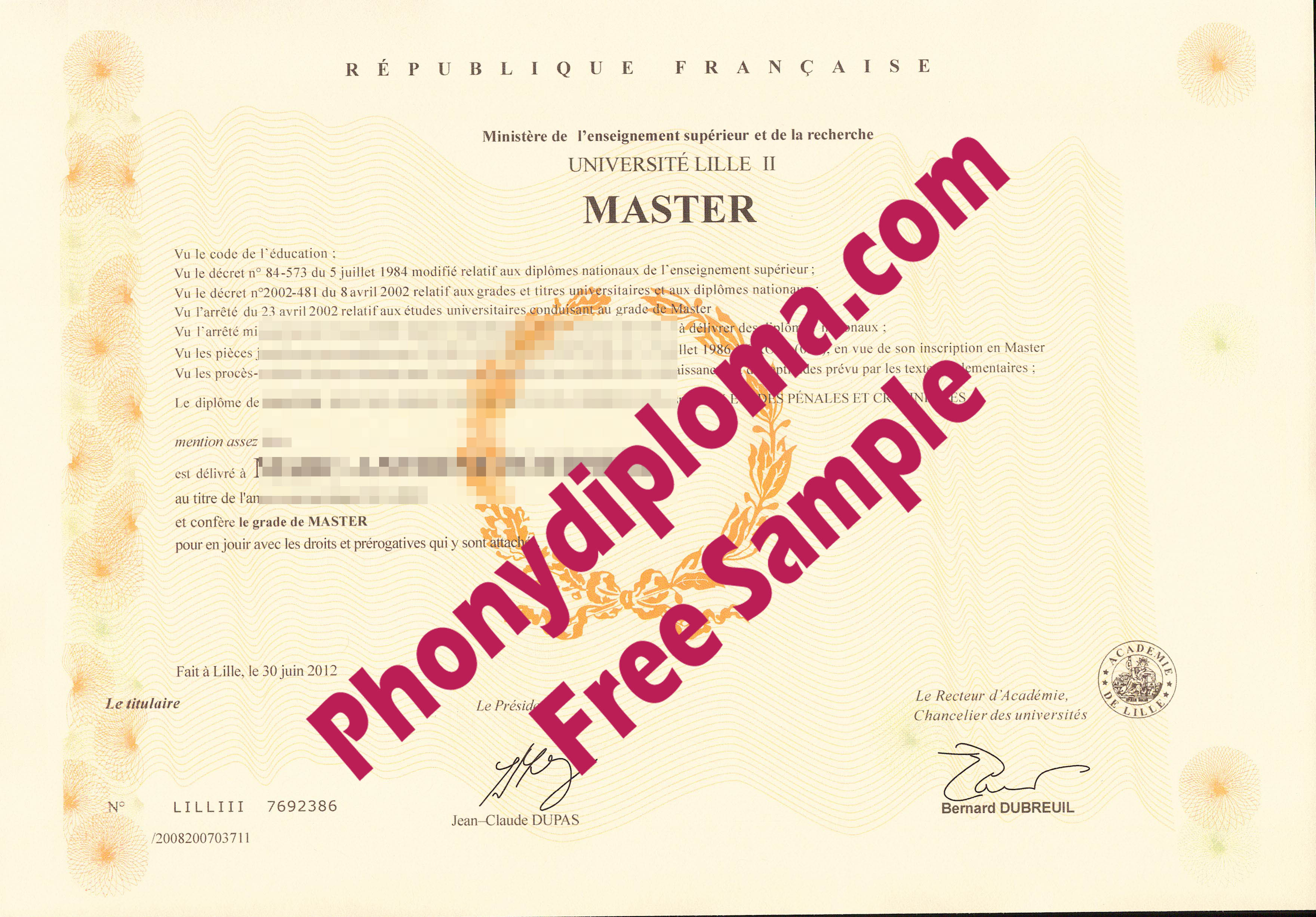 Universite Lille Ii Scan, France Free Sample From Phonydiploma