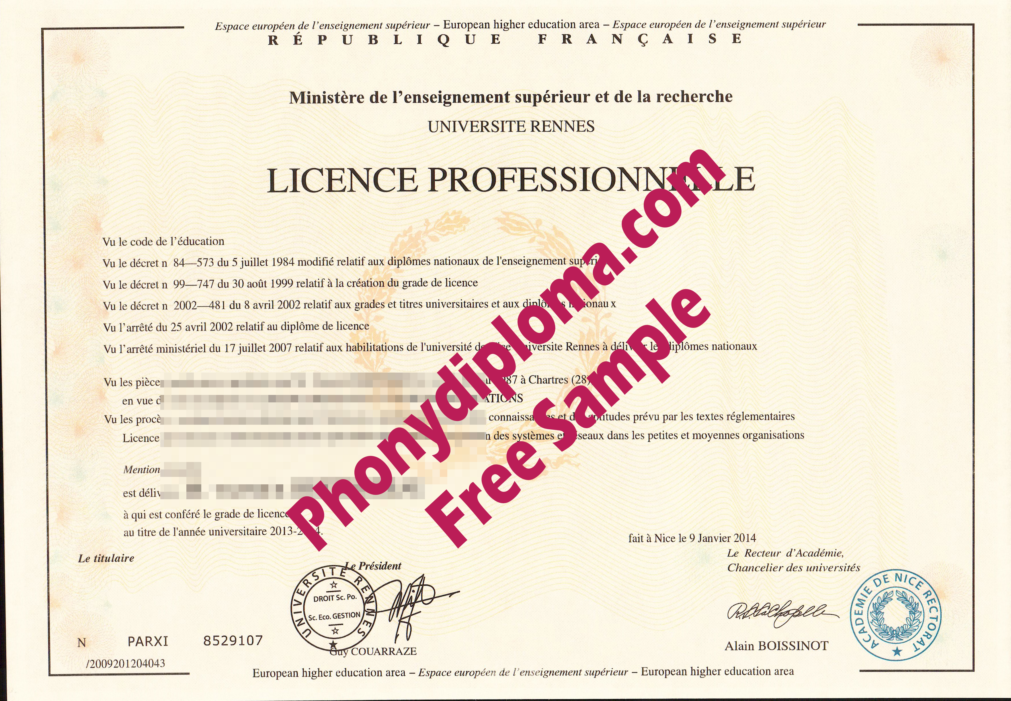 Universite Rennes France Free Sample From Phonydiploma