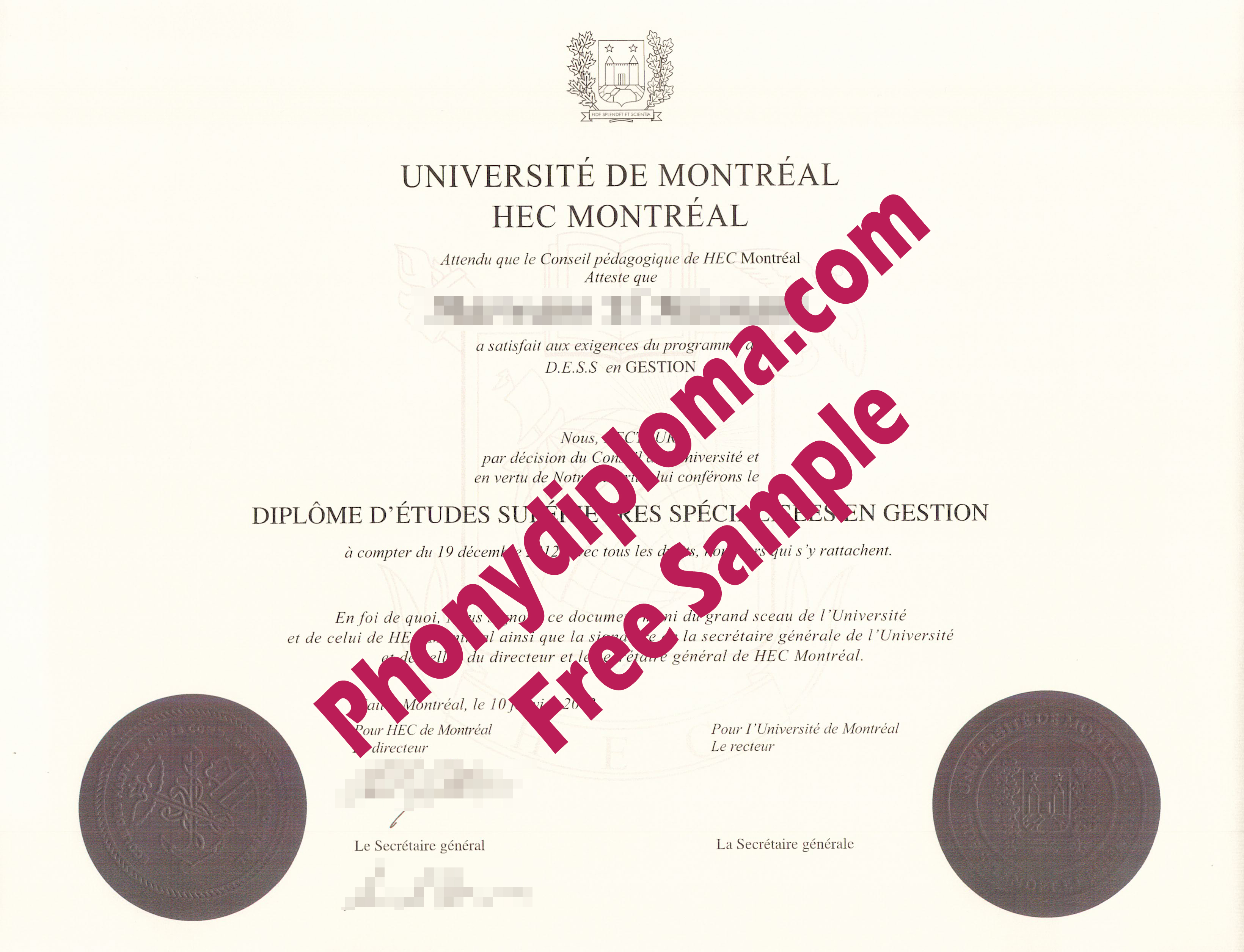 Universite University De Montreal Hec Free Sample From Phonydiploma