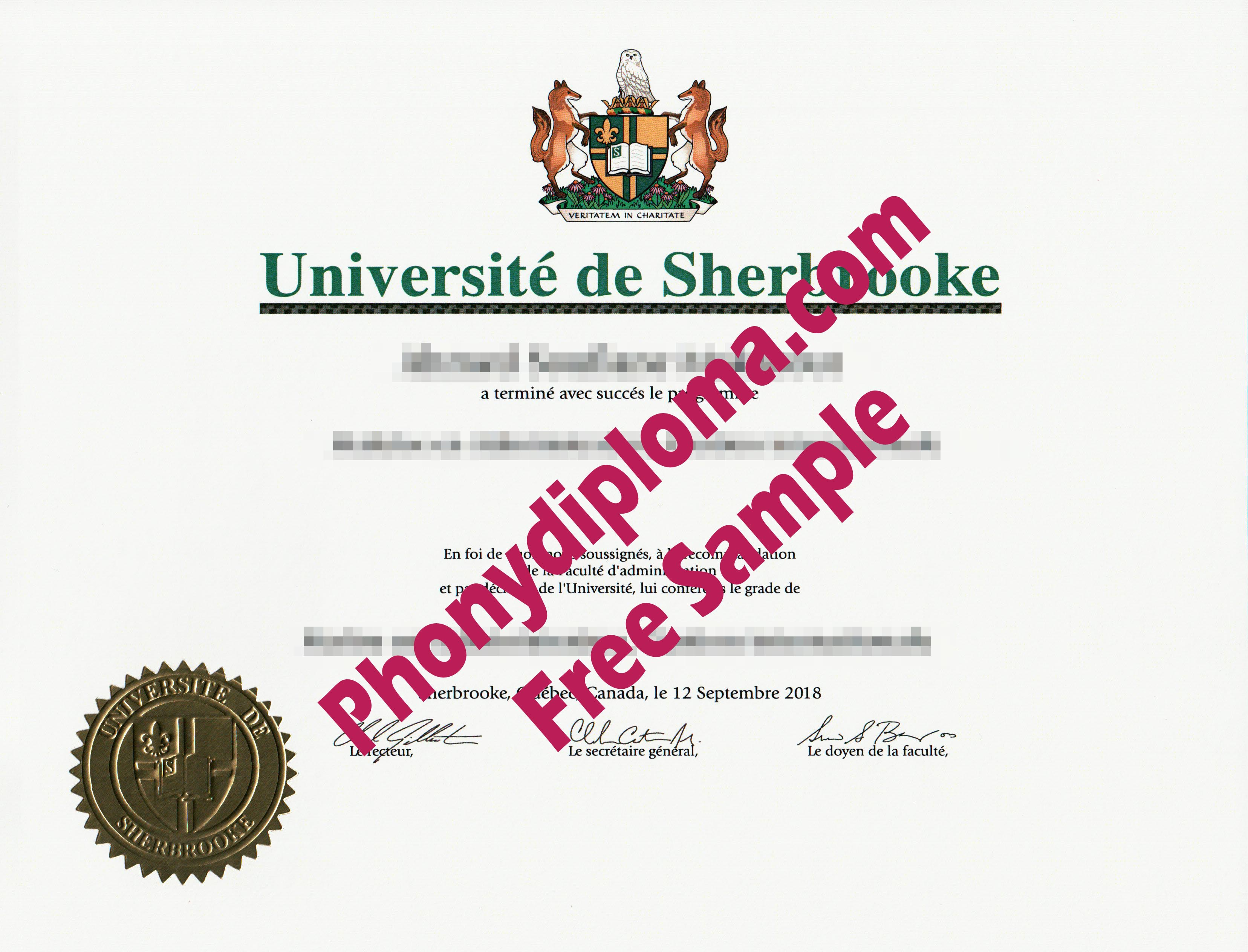 Universite University Of De Sherbrook Free Sample From Phonydiploma