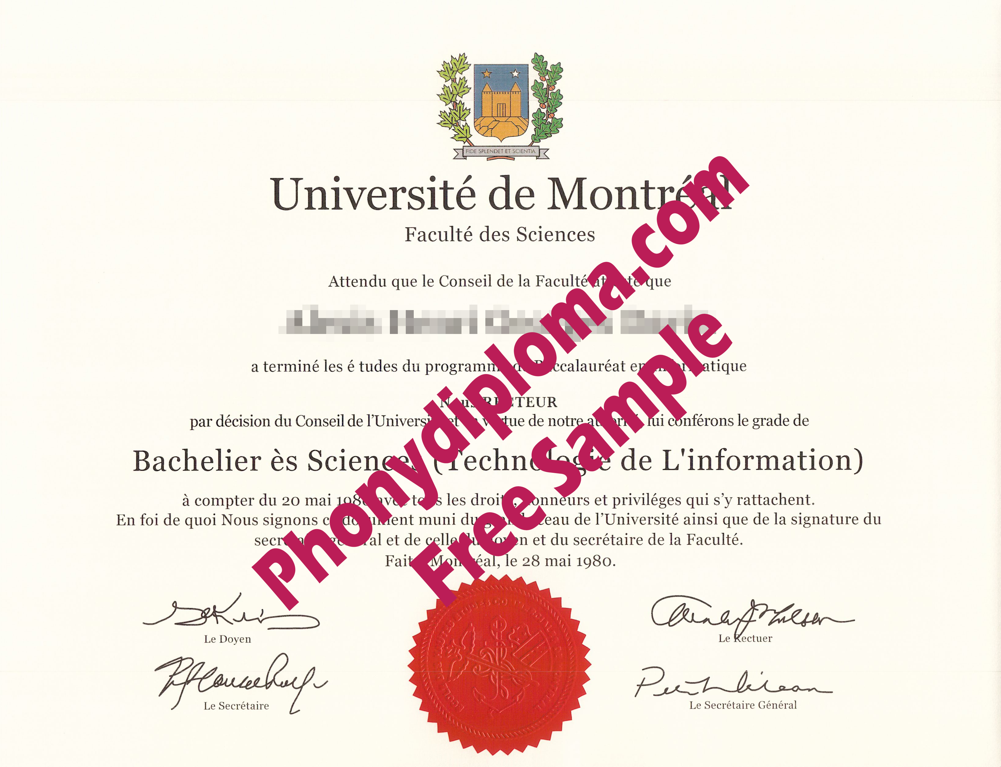 Universite De Montreal Free Sample From Phonydiploma