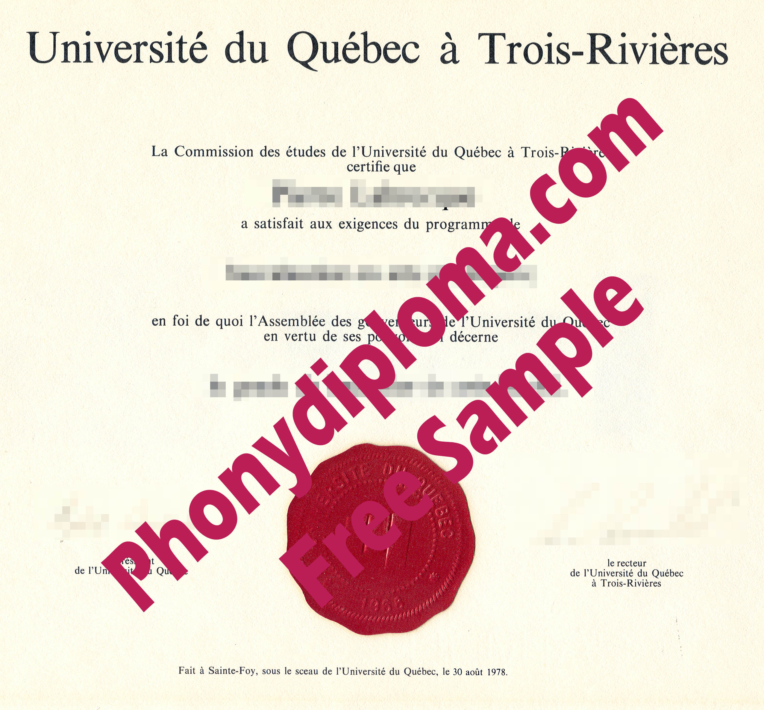 Universite De Quebec A Trois Rivieres Free Sample From Phonydiploma