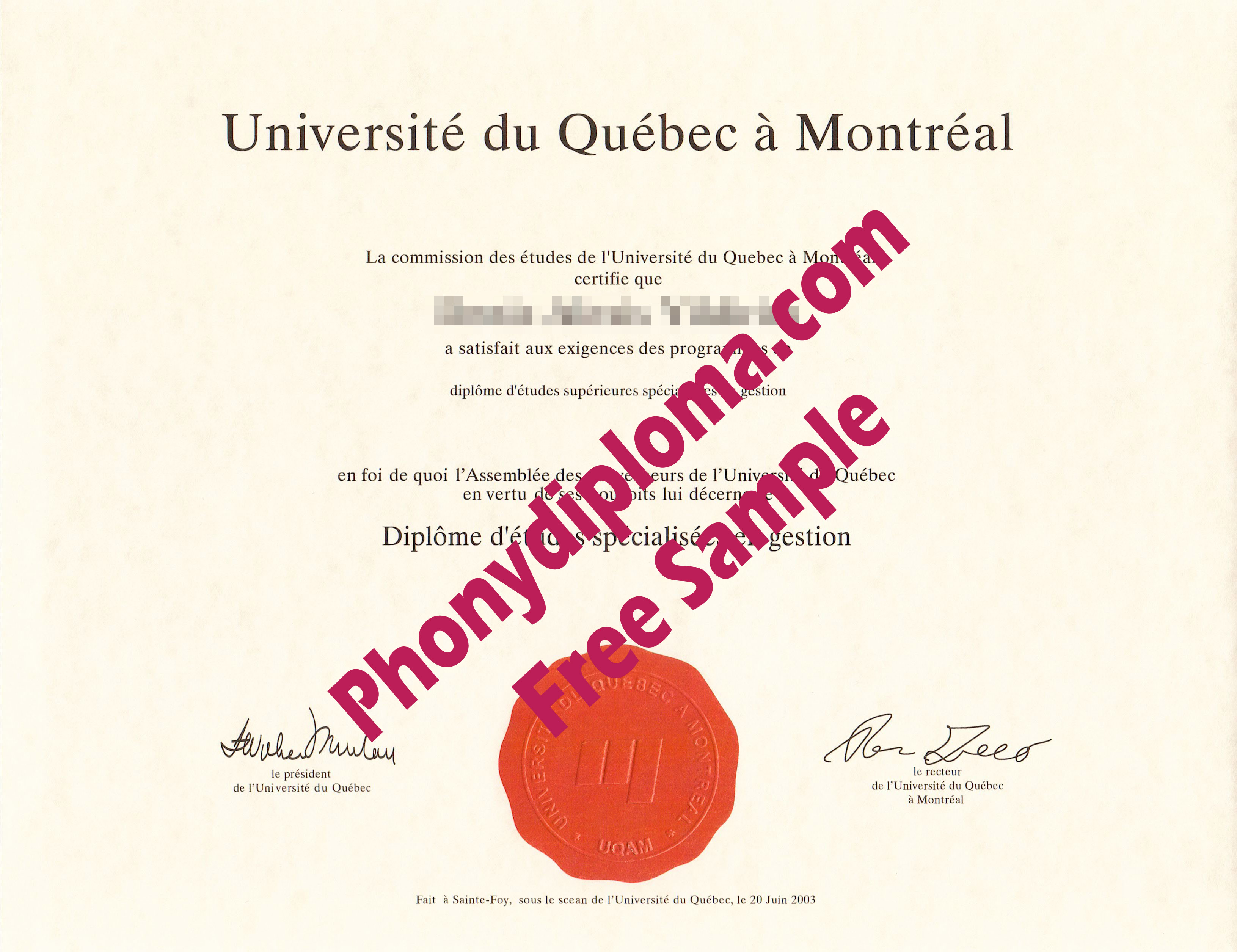 Universite Du Quebec A Montreal Canada Free Sample From Phonydiploma
