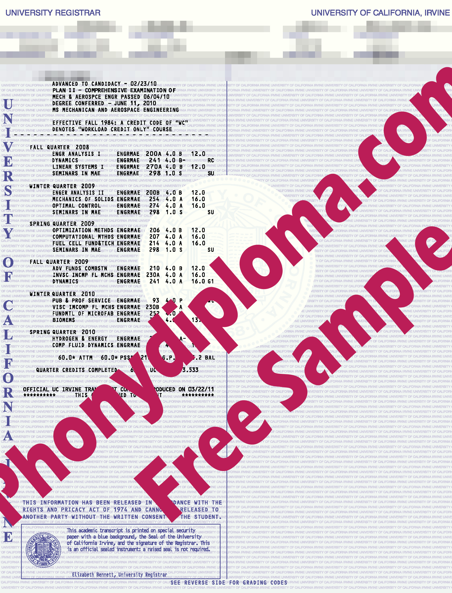 University Of California Irvine Actual Match Transcript Free Sample From Phonydiploma