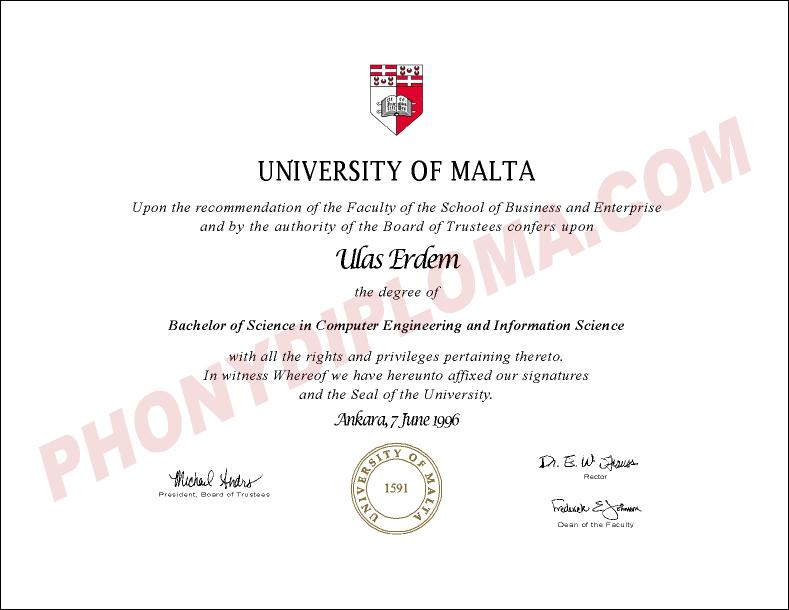 University Of Malta Free Sample From Phonydiploma
