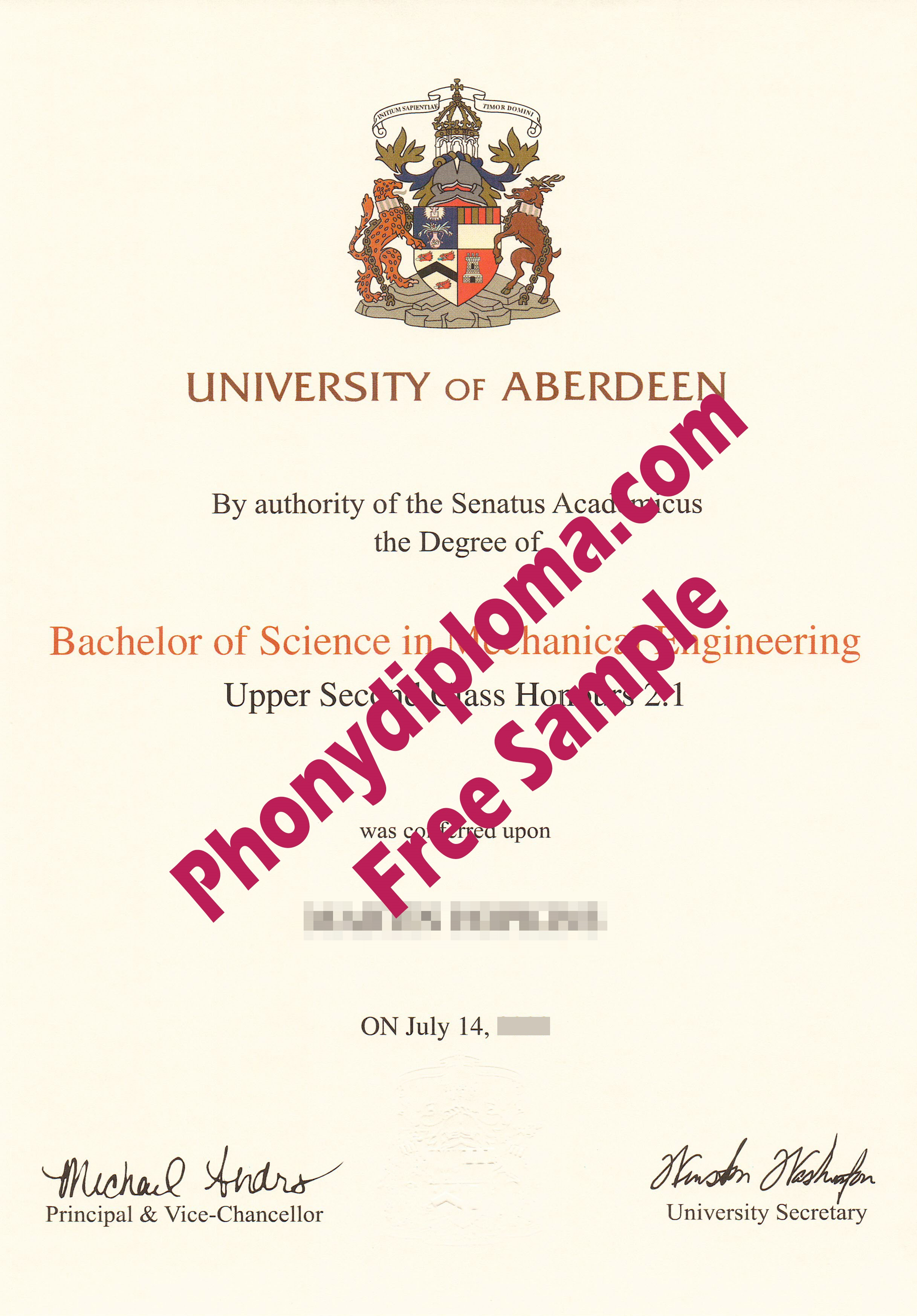 University Of Aberdeen Free Sample From Phonydiploma