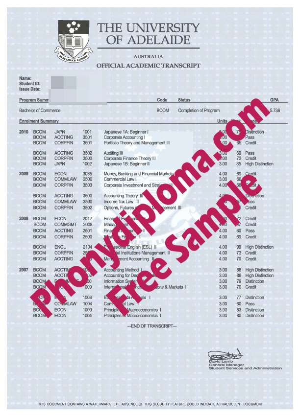 University Of Adelaide Actual Match Transcript Free Sample From Phonydiploma