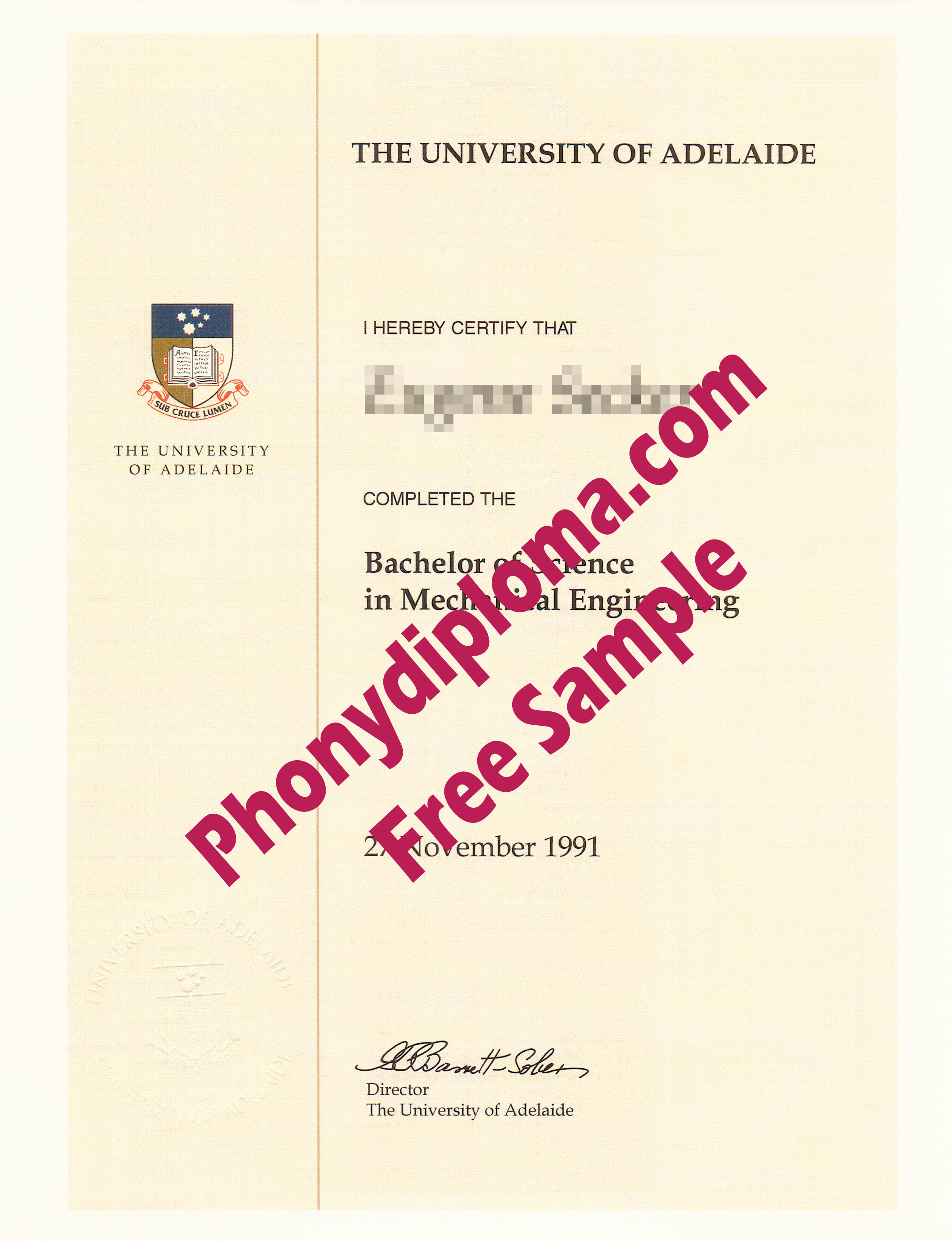 University Of Adelaide Free Sample From Phonydiploma (2)