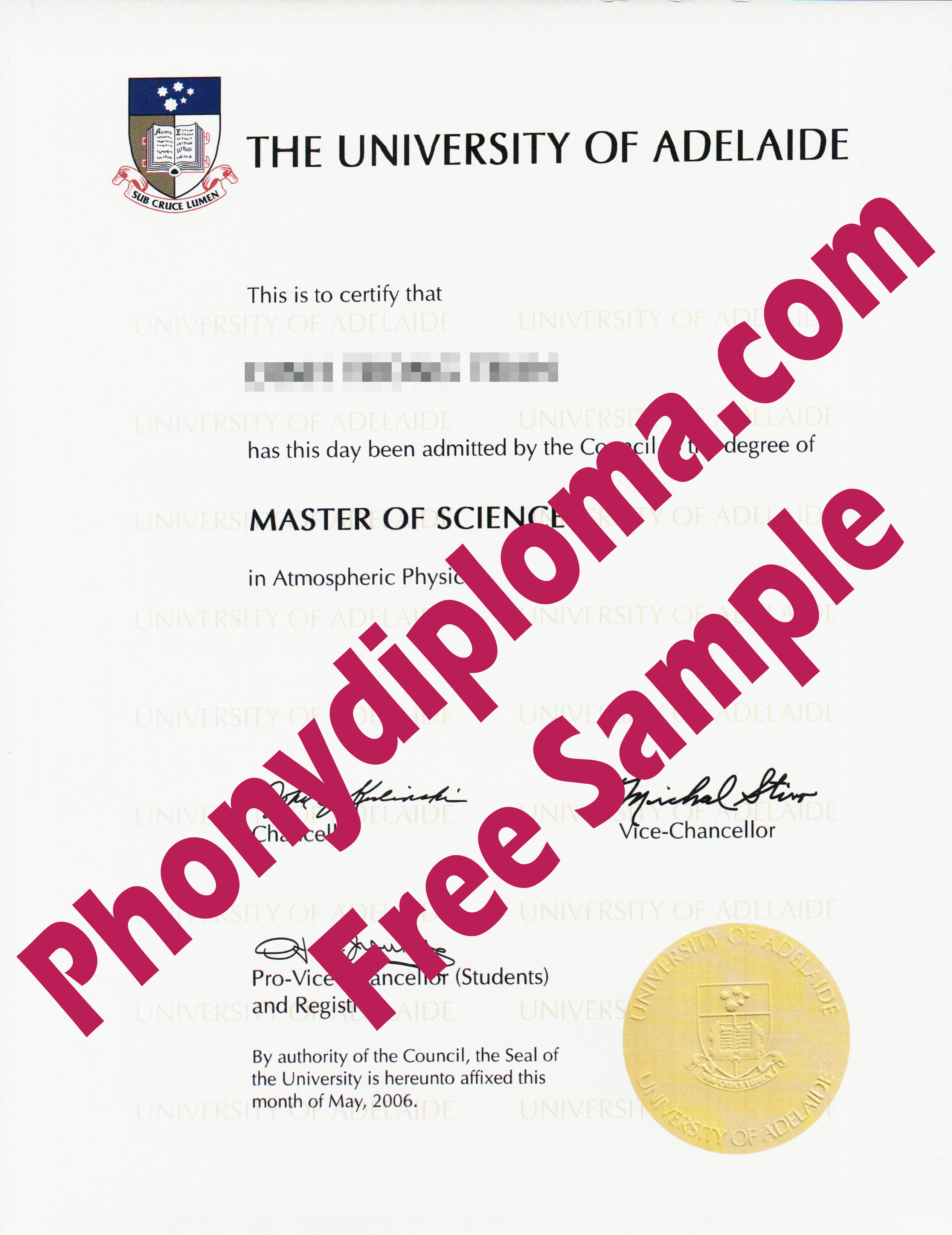University Of Adelaide Free Sample From Phonydiploma