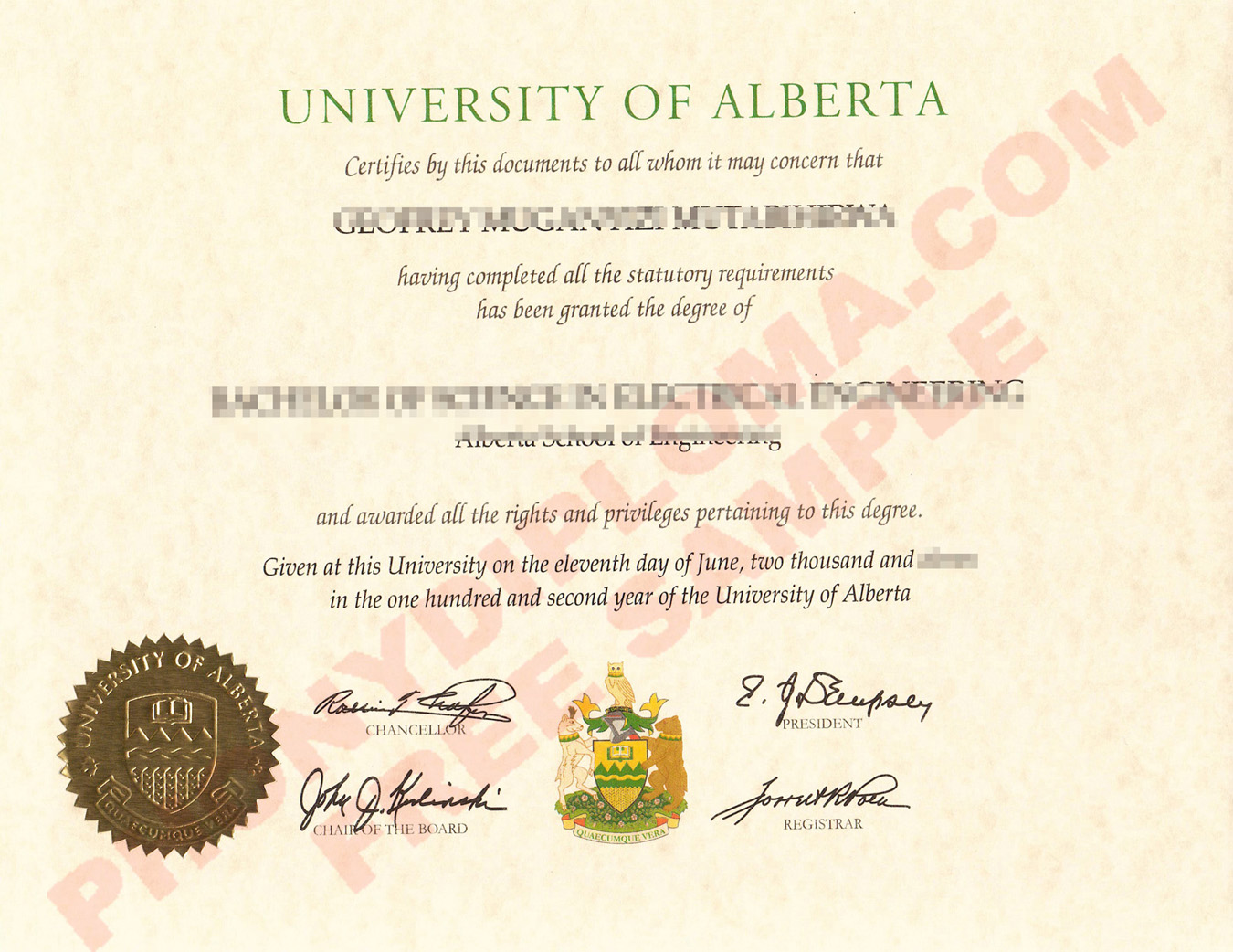 University Of Alberta Free Sample From Phonydiploma