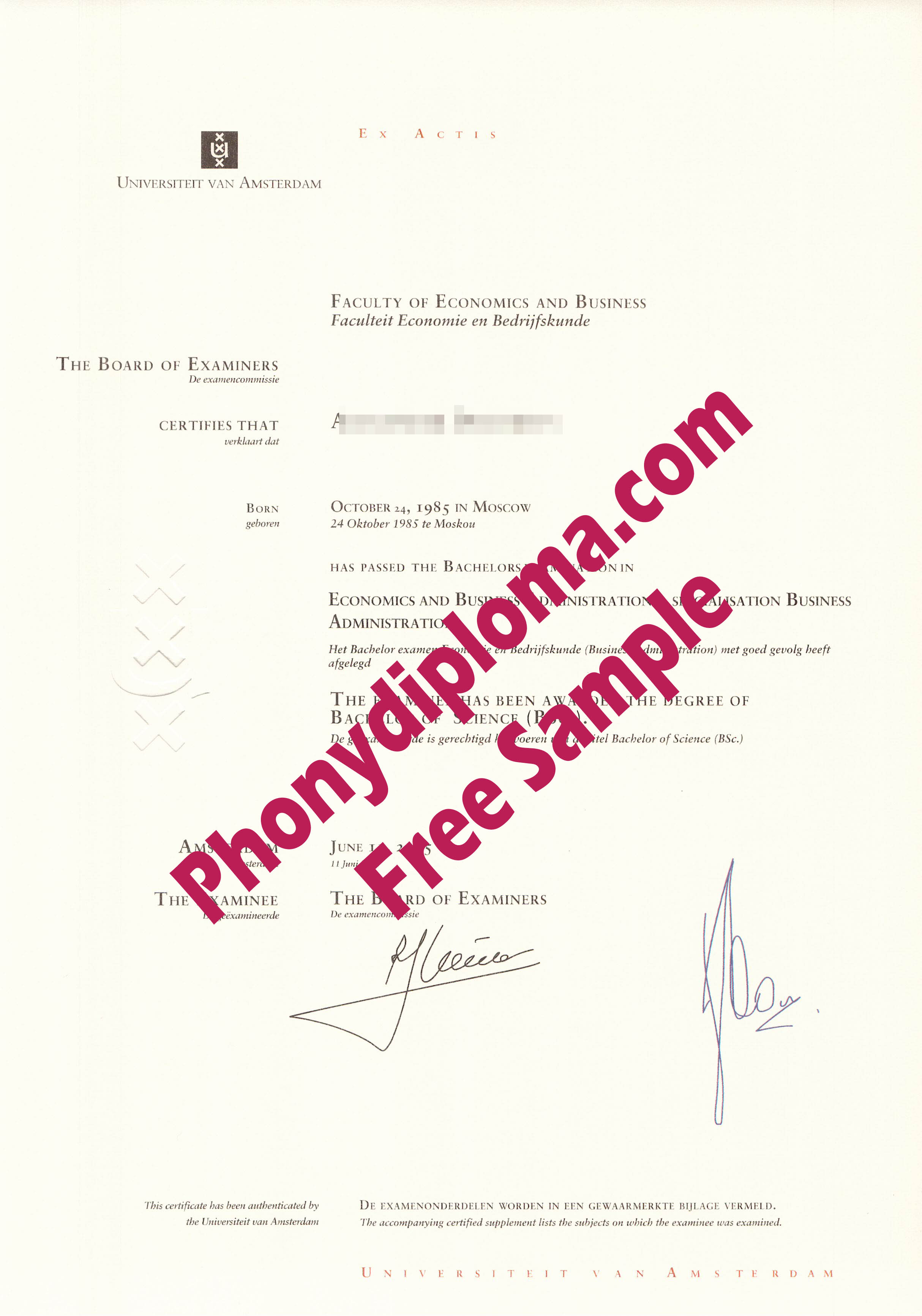 University Of Amsterdam Free Sample From Phonydiploma