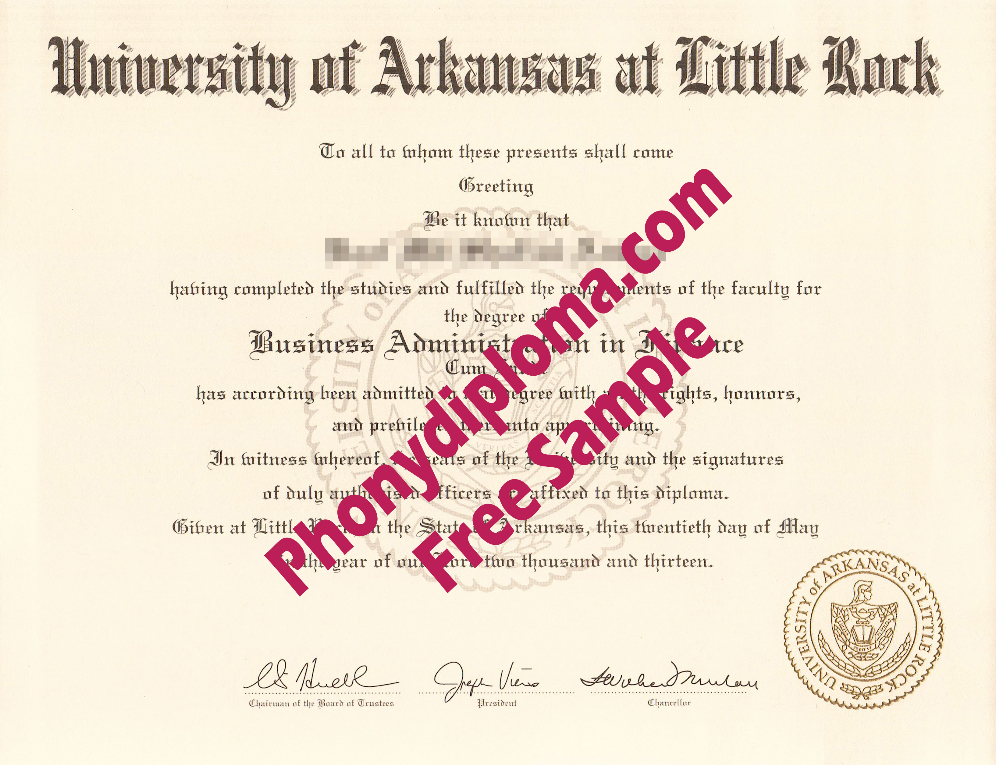University Of Arkansas At Little Rock Free Sample From Phonydiploma