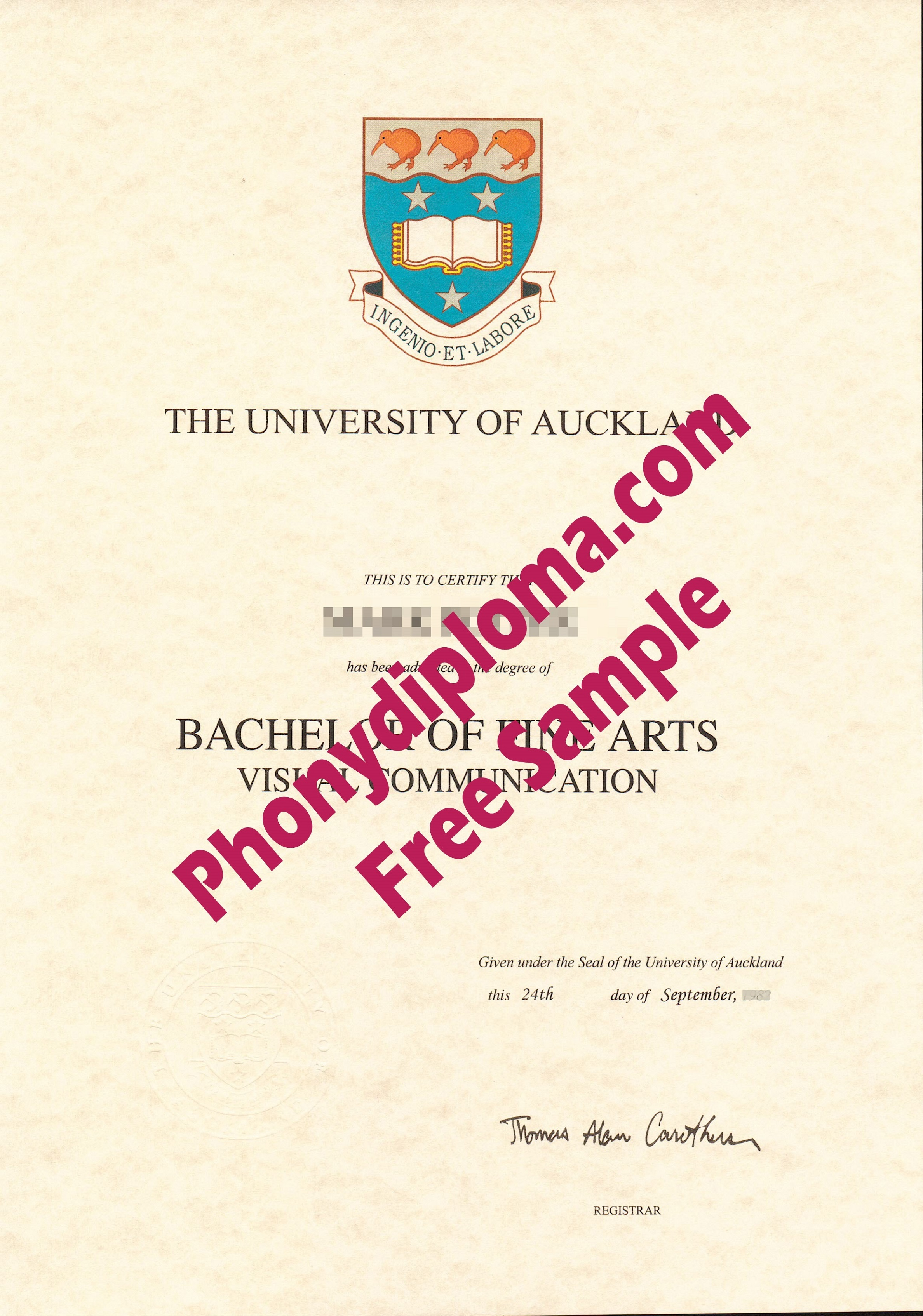 University Of Auckland Free Sample From Phonydiploma