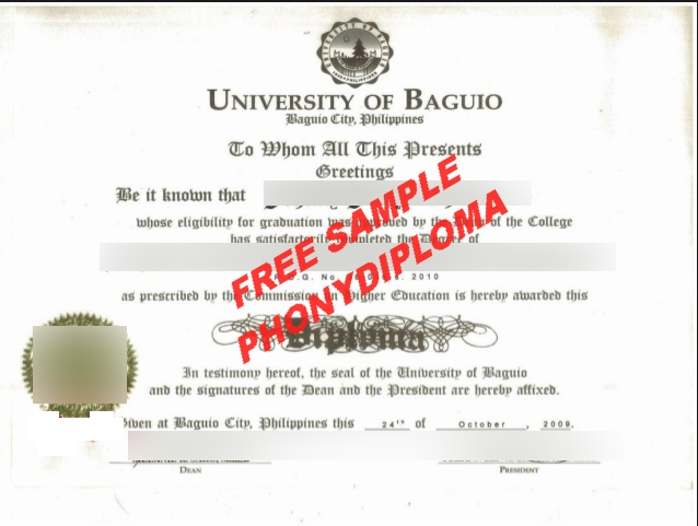 University Of Baguio Diploma Free Diploma From Phonydiploma