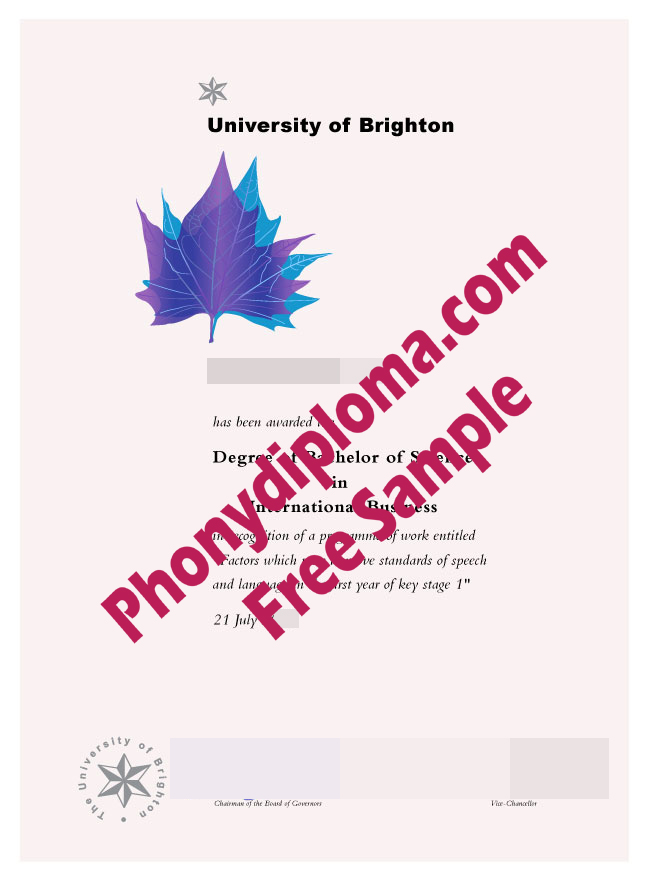University Of Brighton Free Sample From Phonydiploma