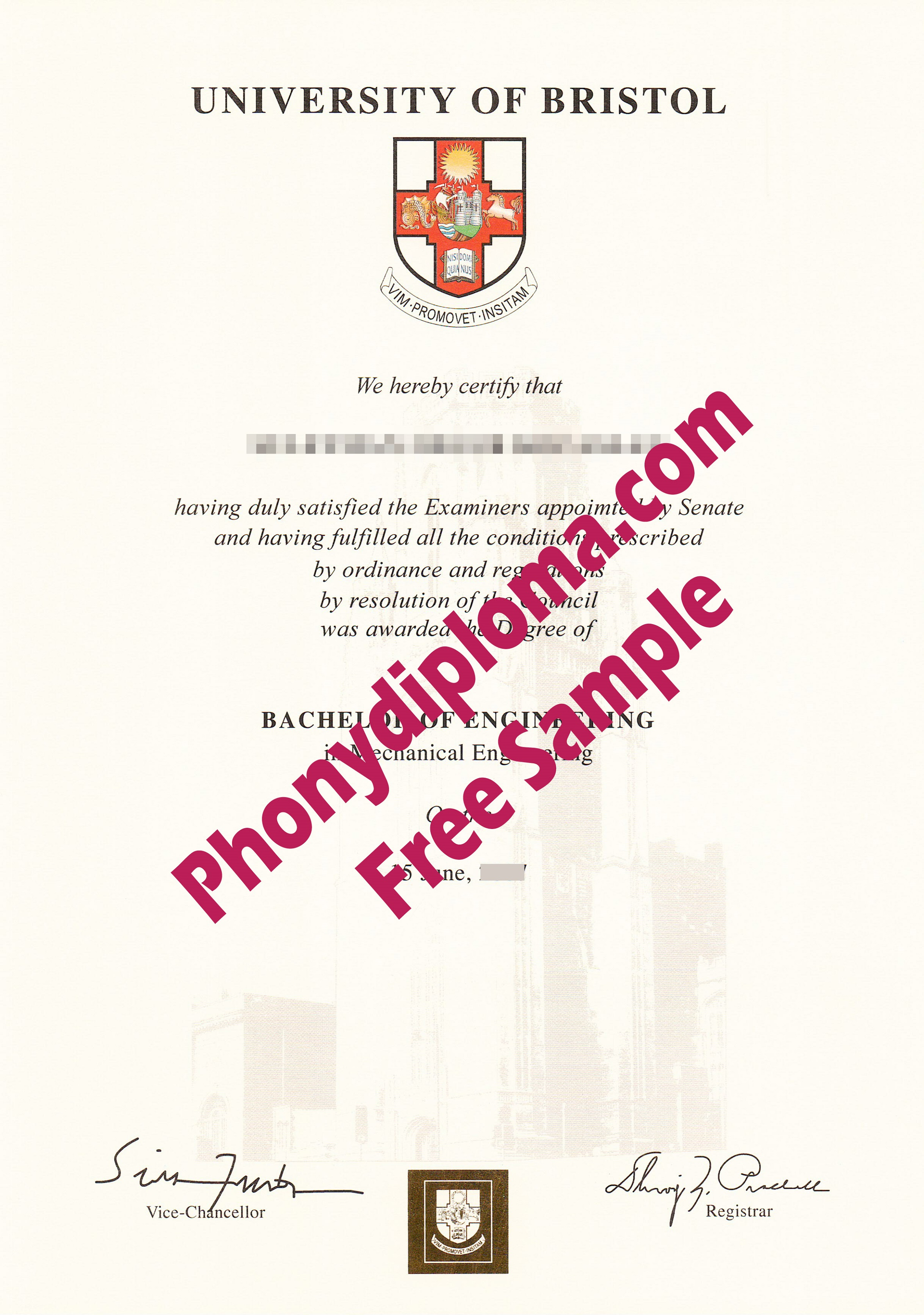 University Of Bristol Free Sample From Phonydiploma