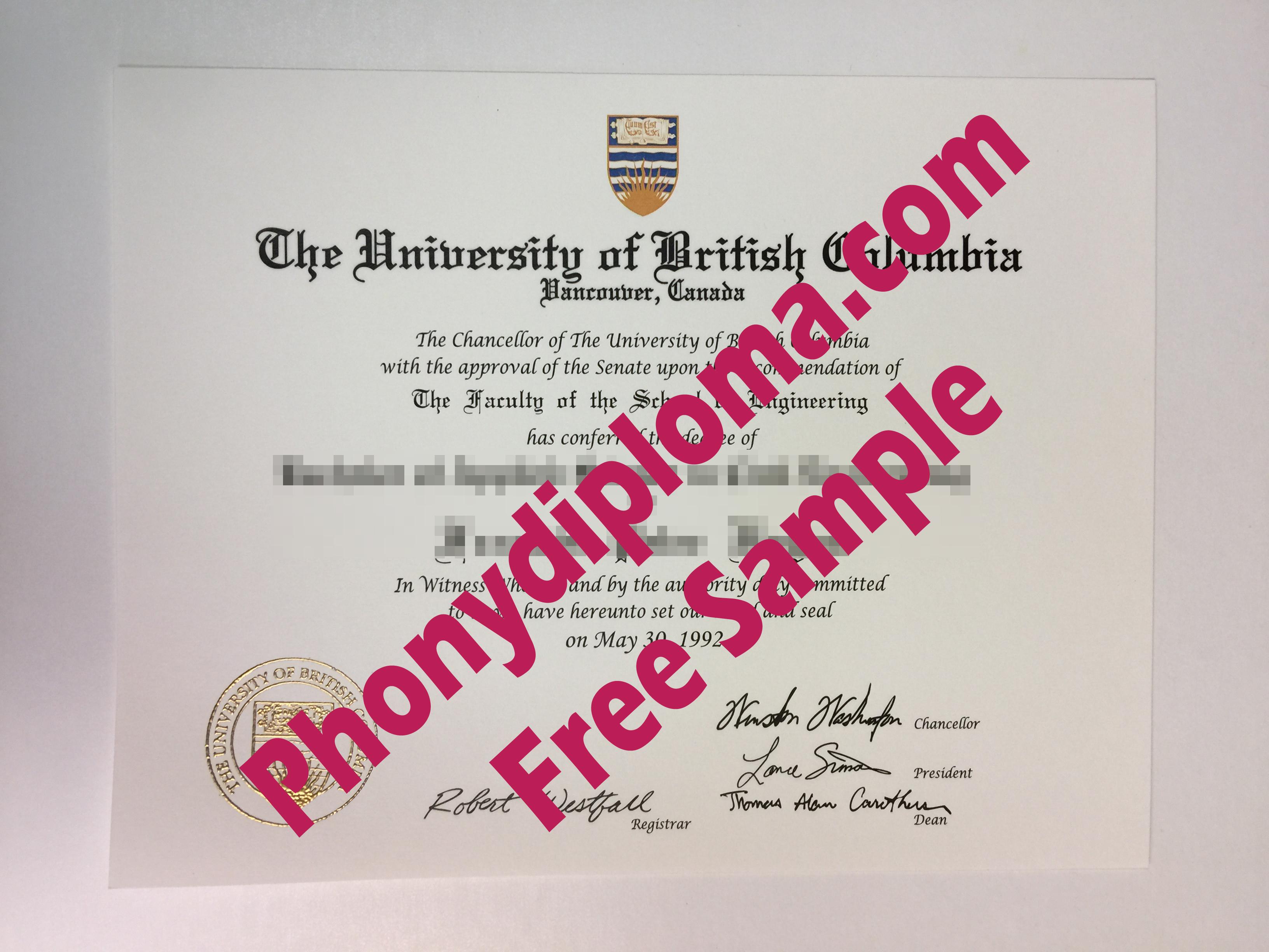 University Of British Columbia Canada Free Sample From Phonydiploma