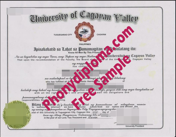 University Of Cagayan Valley Philippines Free Sample From Phonydiploma