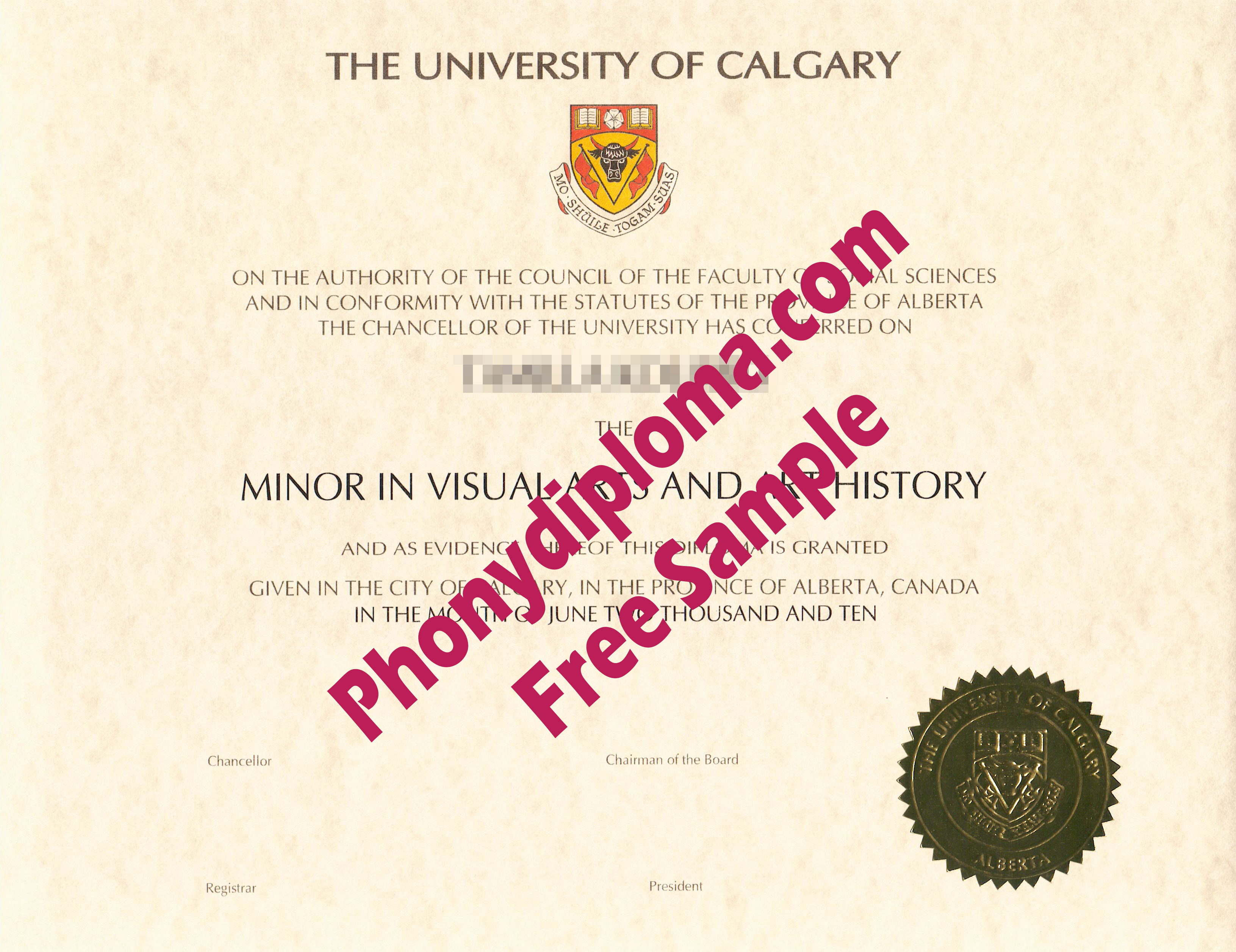 University Of Calgary Free Sample From Phonydiploma