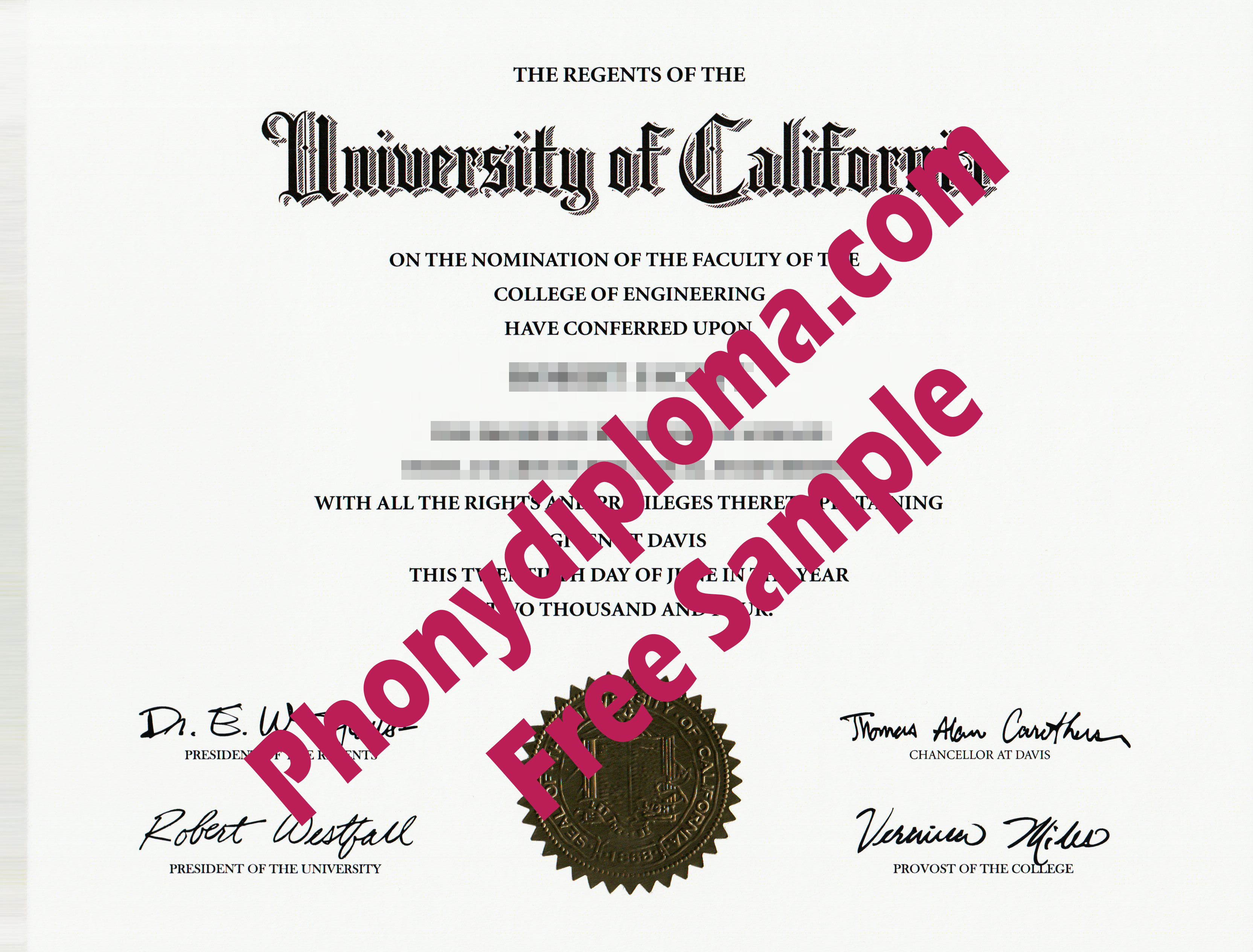University Of California Davis Free Sample From Phonydiploma