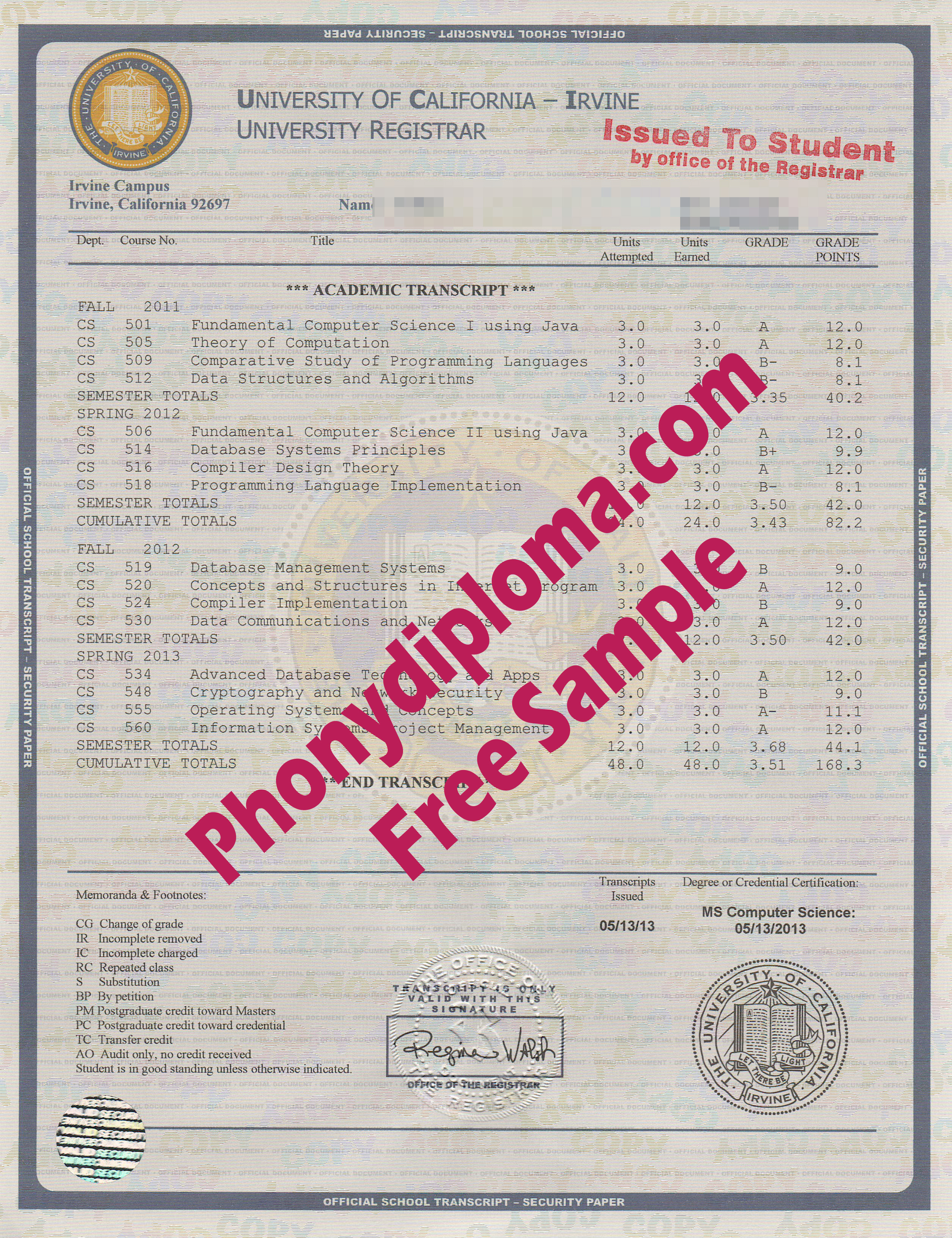 University Of California Irvine House Design Transcripts Free Sample From Phonydiploma