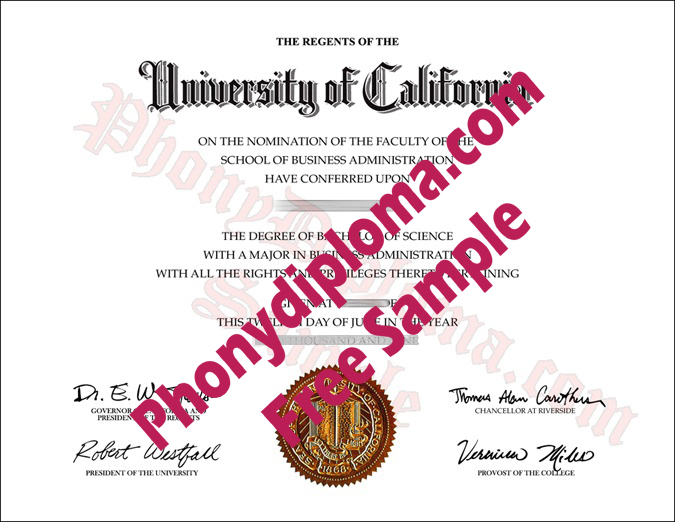 University Of California Riverside Free Sample From Phonydiploma