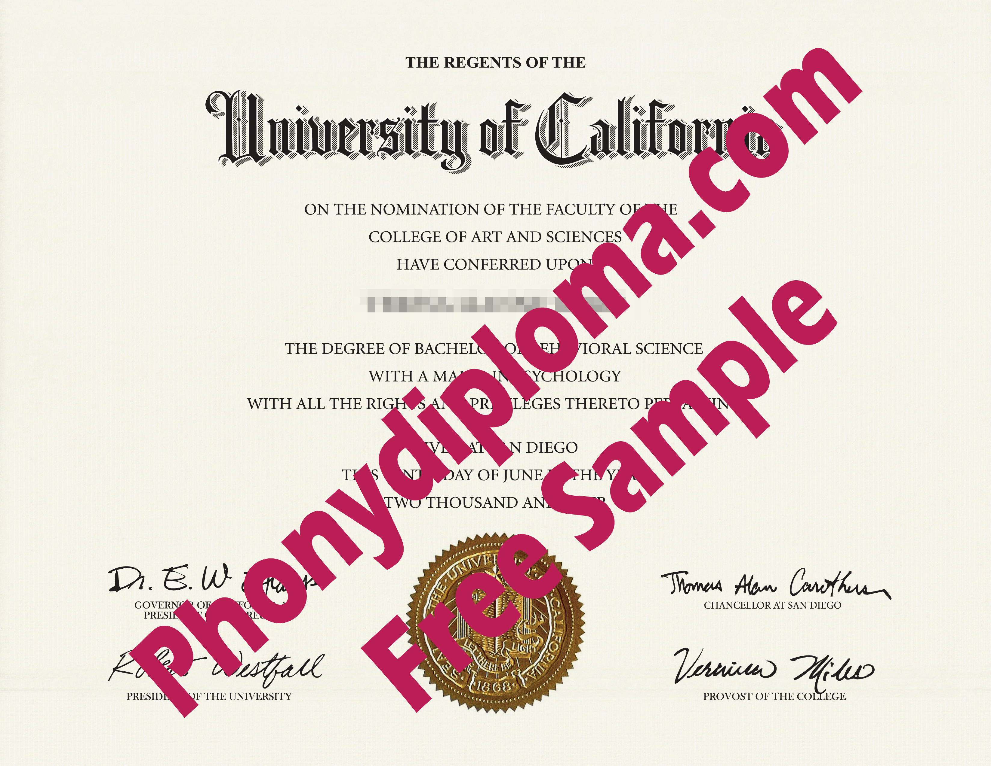 University Of California San Diego Free Sample From Phonydiploma
