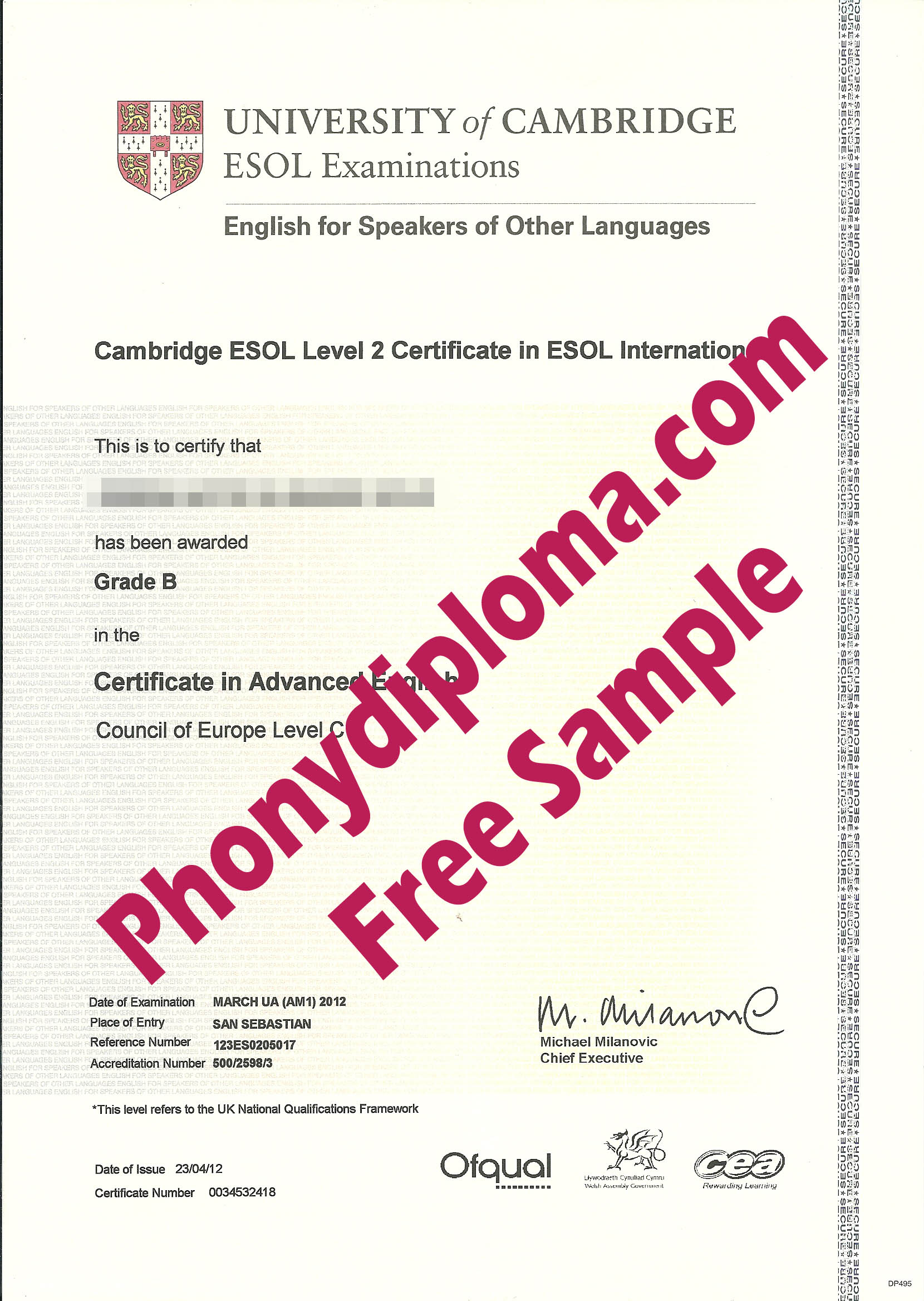 University Of Cambridge Esol Level 2 Free Sample From Phonydiploma