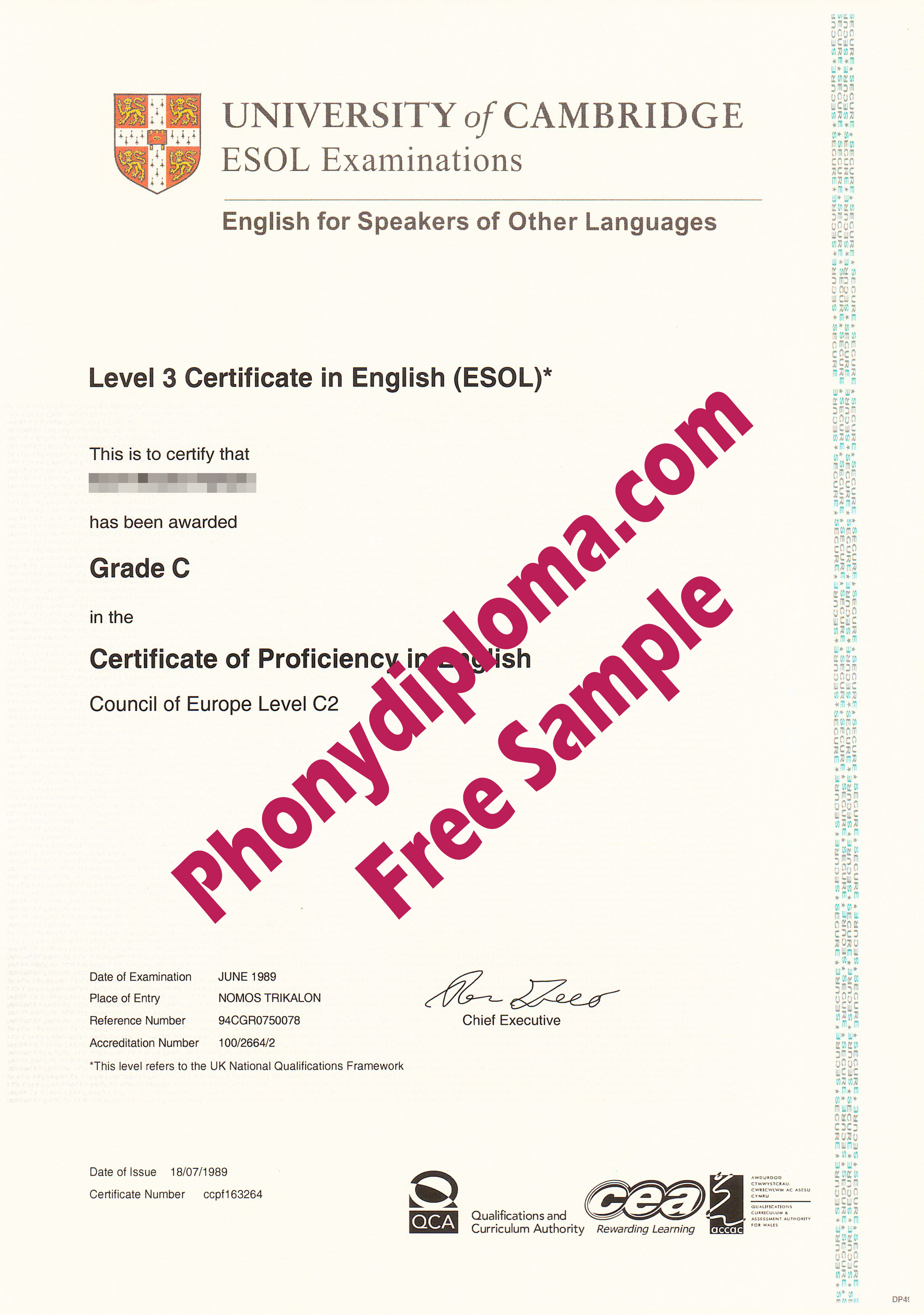 University Of Cambridge Esol Level 3 Certificate Free Sample From Phonydiploma