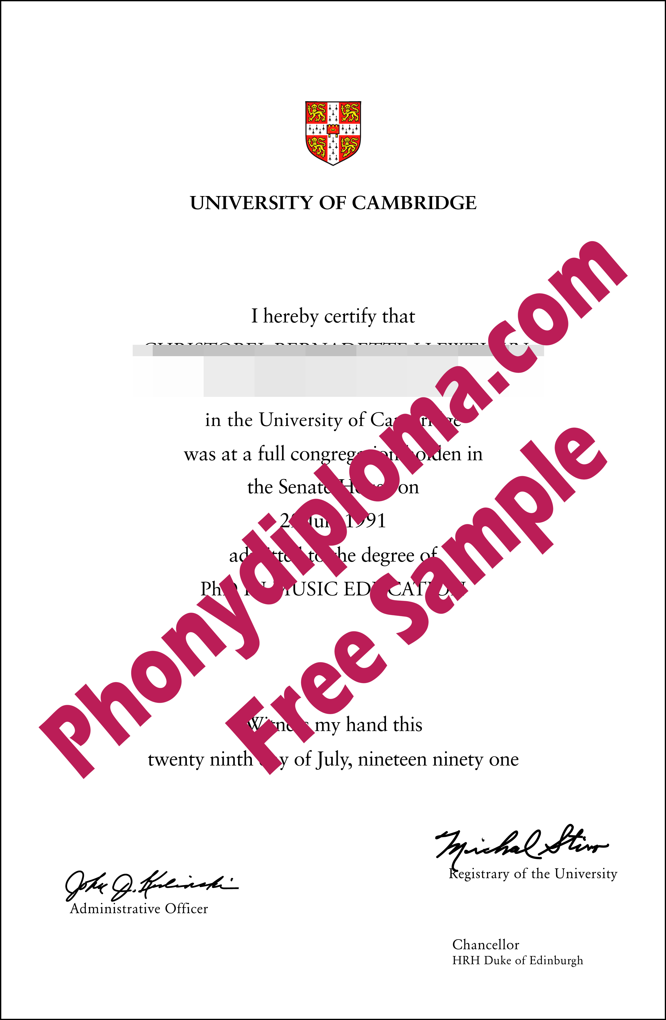 University Of Cambridge Free Sample From Phonydiploma