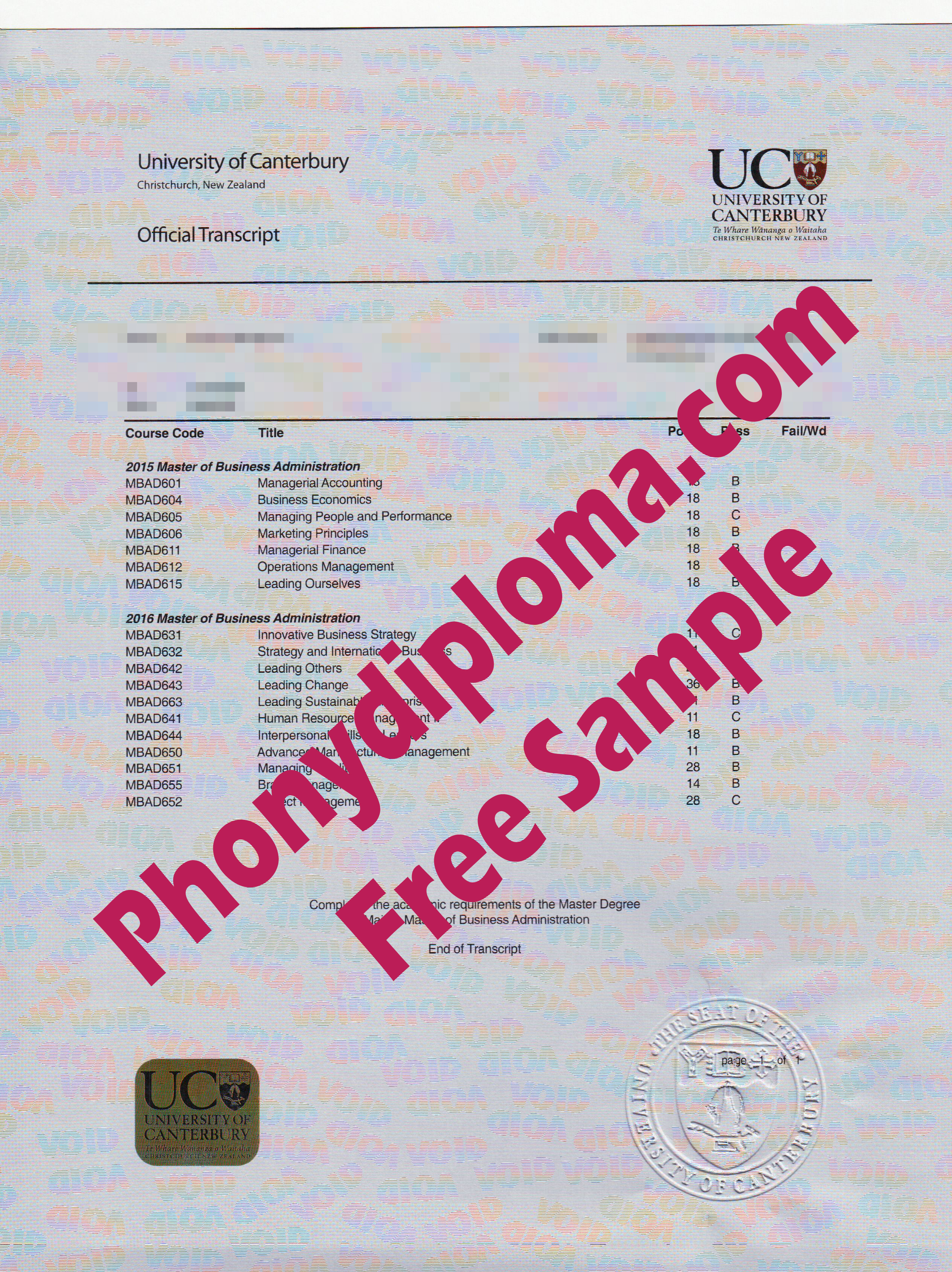 University Of Canterbury Actual Match Transcript Free Sample From Phonydiploma