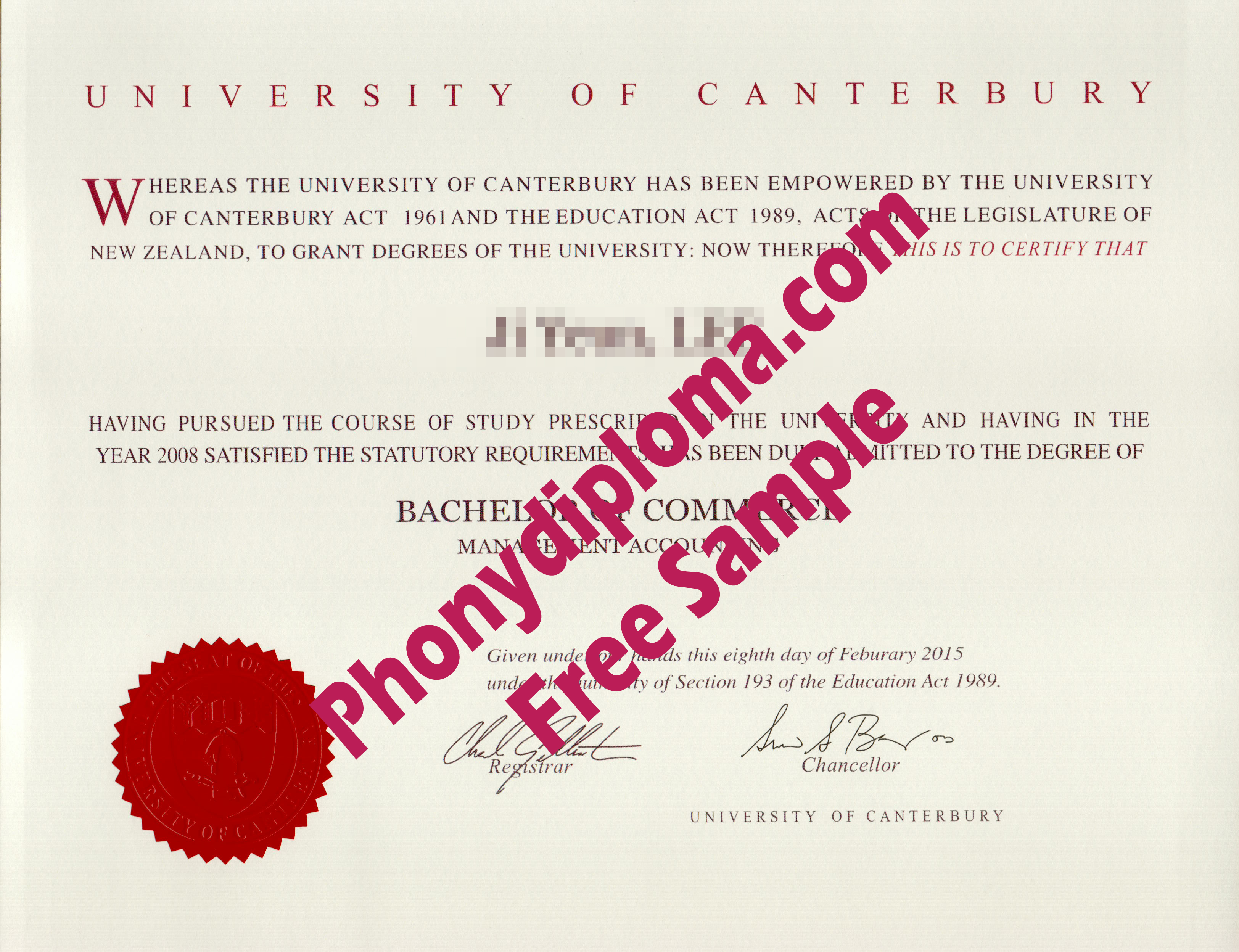 University Of Canterbury Diploma Free Sample From Phonydiploma