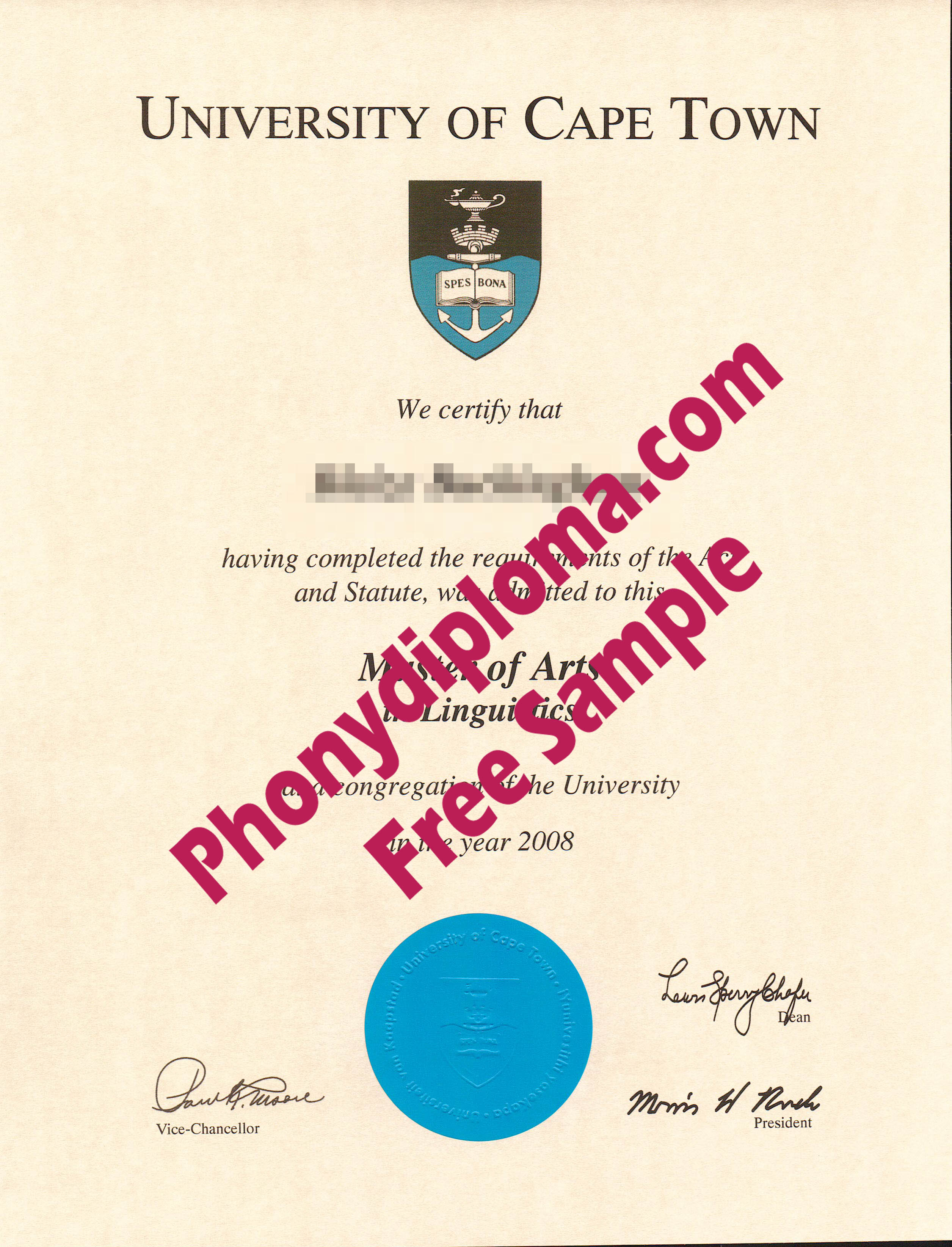 University Of Cape Town Free Sample From Phonydiploma