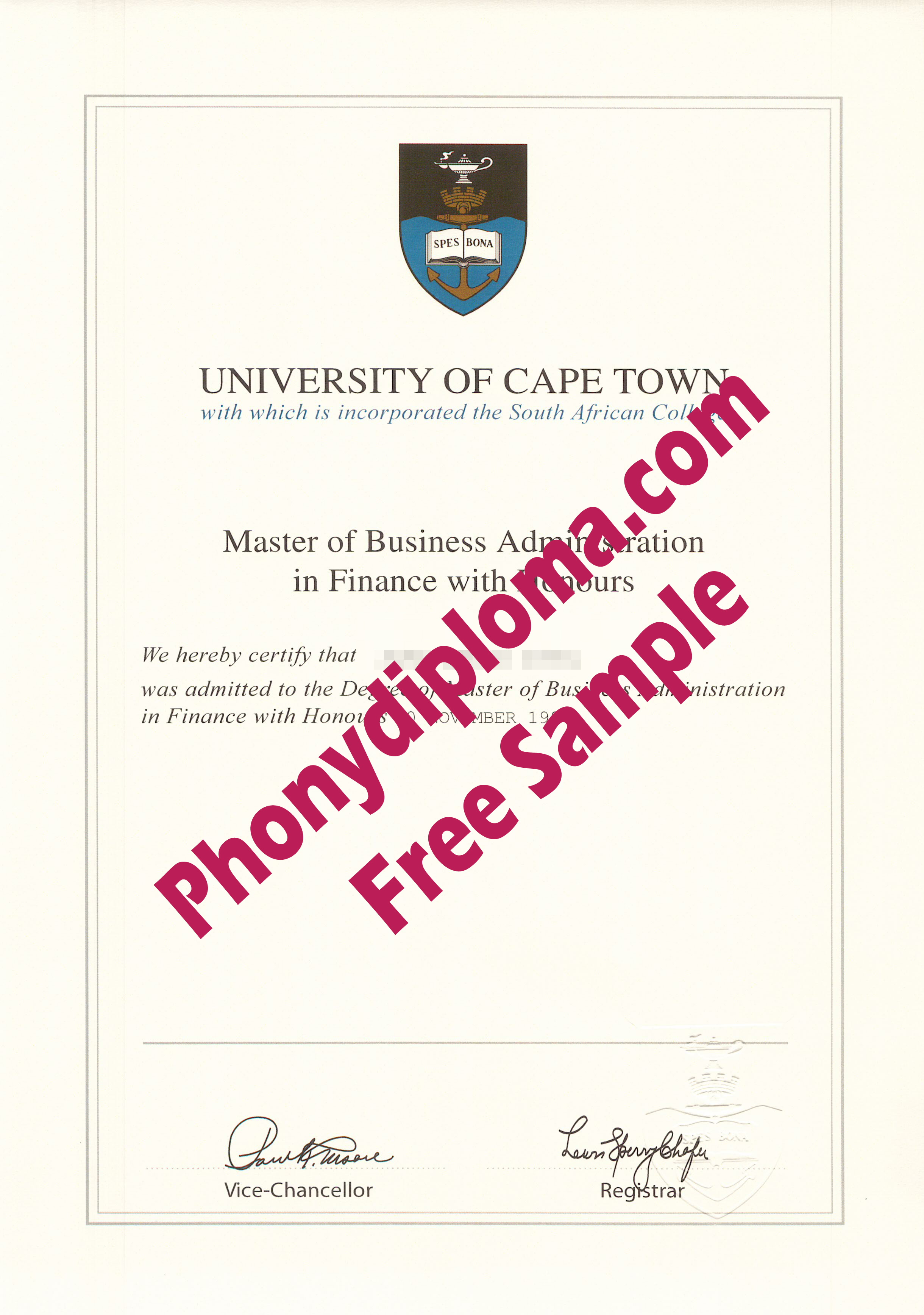 University Of Capetown Free Sample From Phonydiploma