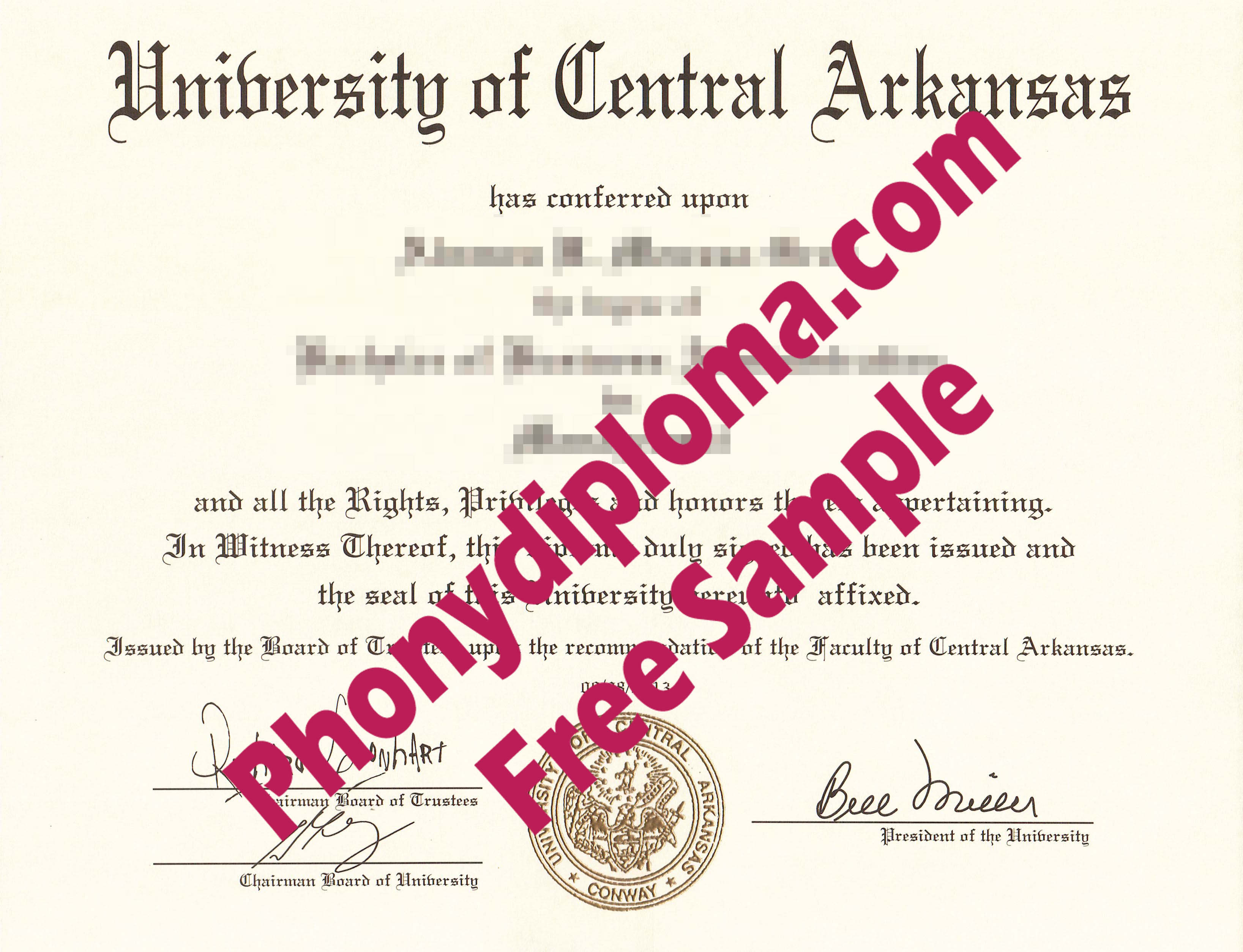 University Of Central Arkansas Free Sample From Phonydiploma