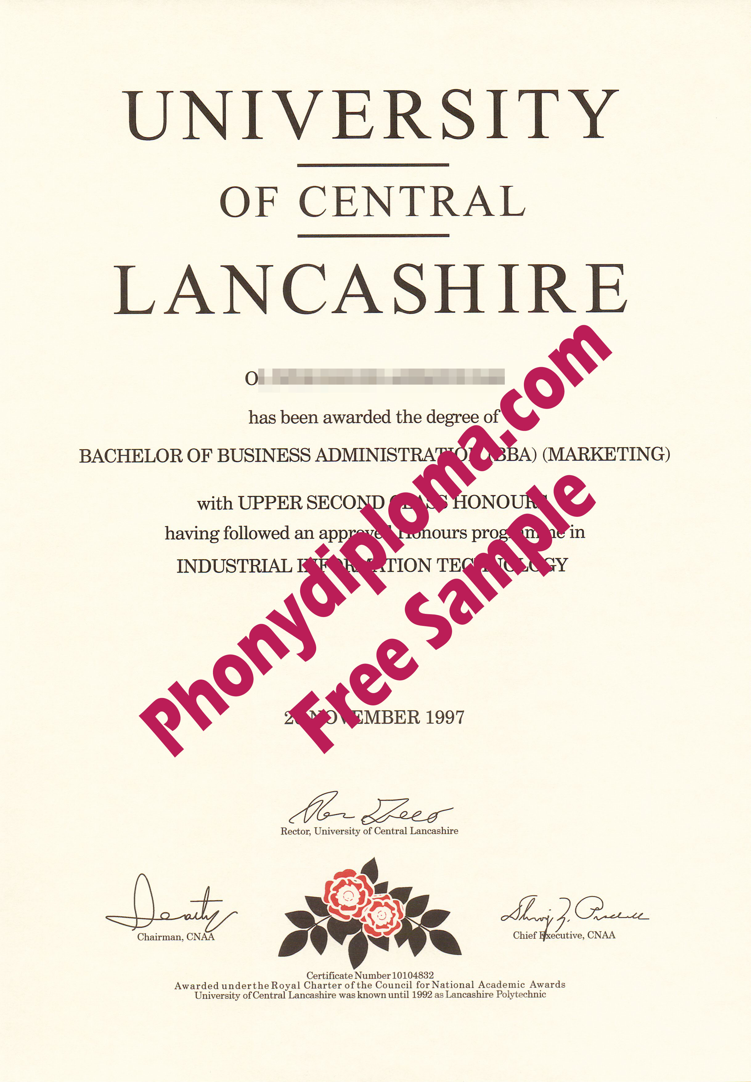 University Of Central Lancashire Diploma Free Sample From Phonydiploma