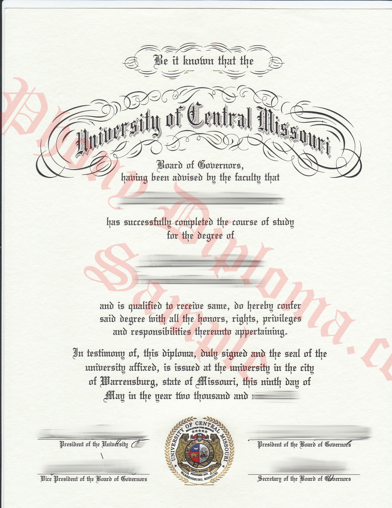 University Of Central Missouri Free Sample From Phonydiploma