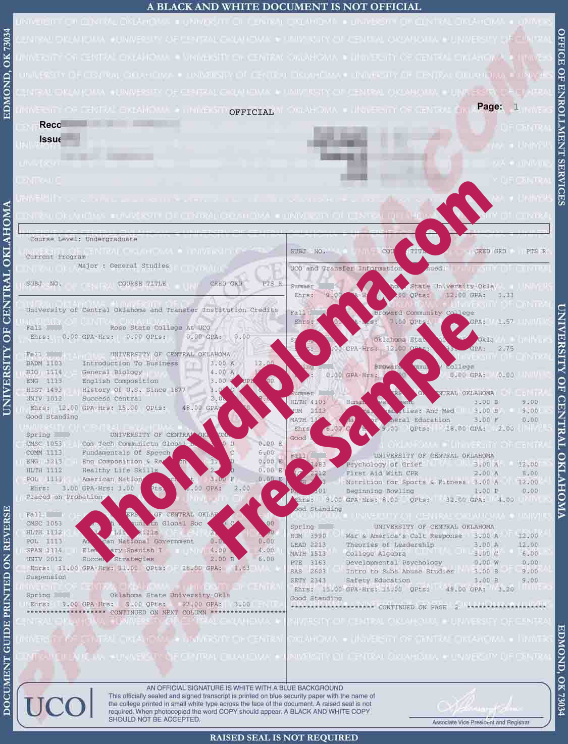 University Of Central Oklahoma Actual Match Transcript Free Sample From Phonydiploma