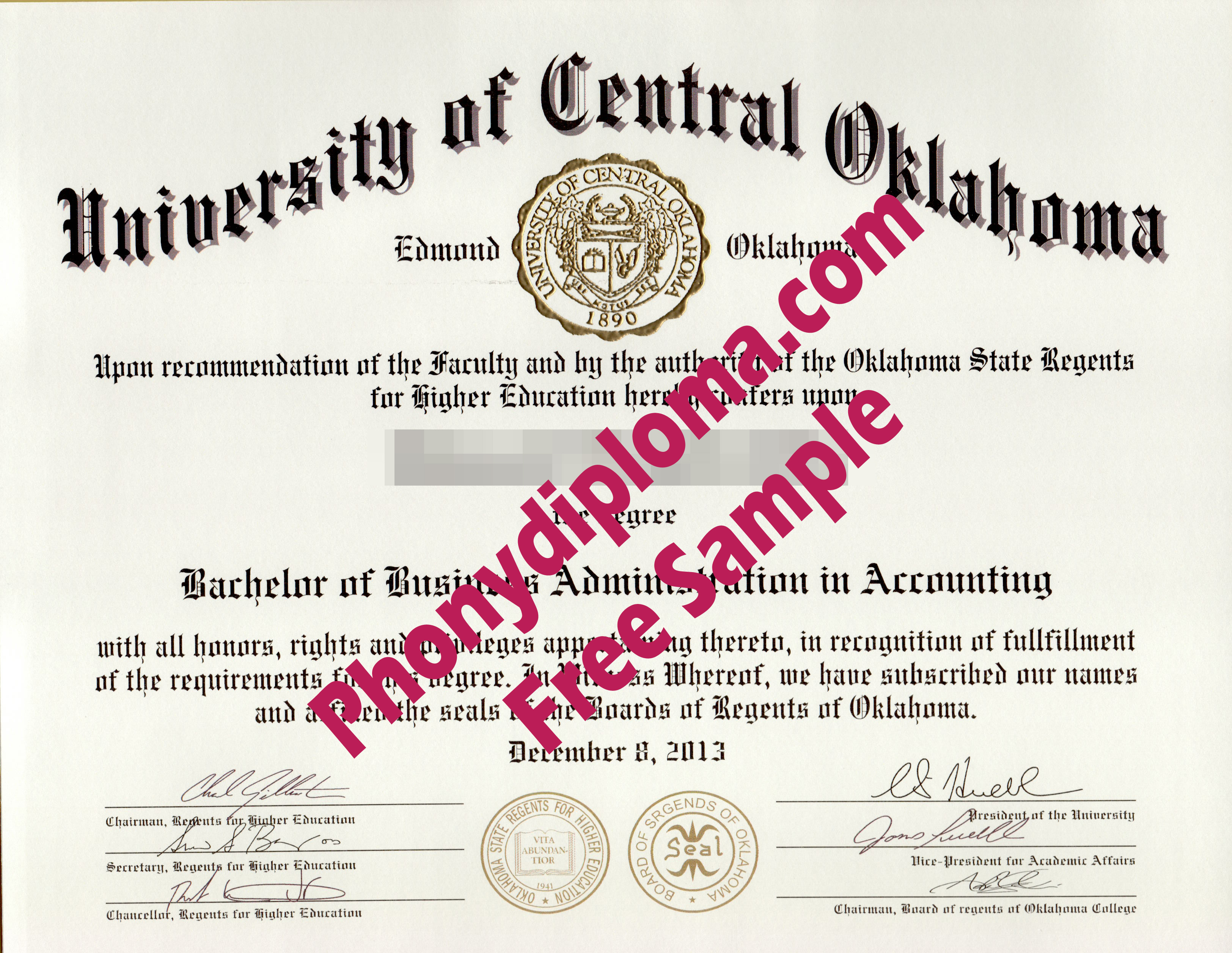 University Of Central Oklahoma Free Sample From Phonydiploma