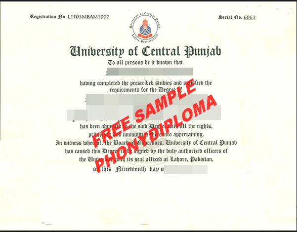 University Of Central Punjab Diploma Free Sample From Phonydiploma