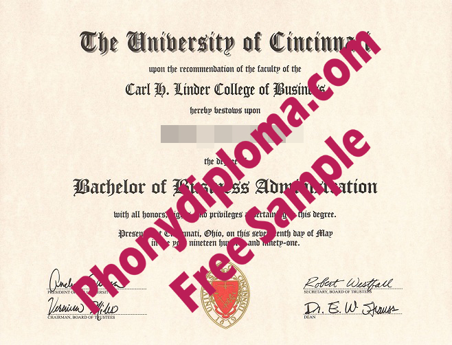 University Of Cincinnati Flat Ink Emblem Free Sample From Phonydiploma