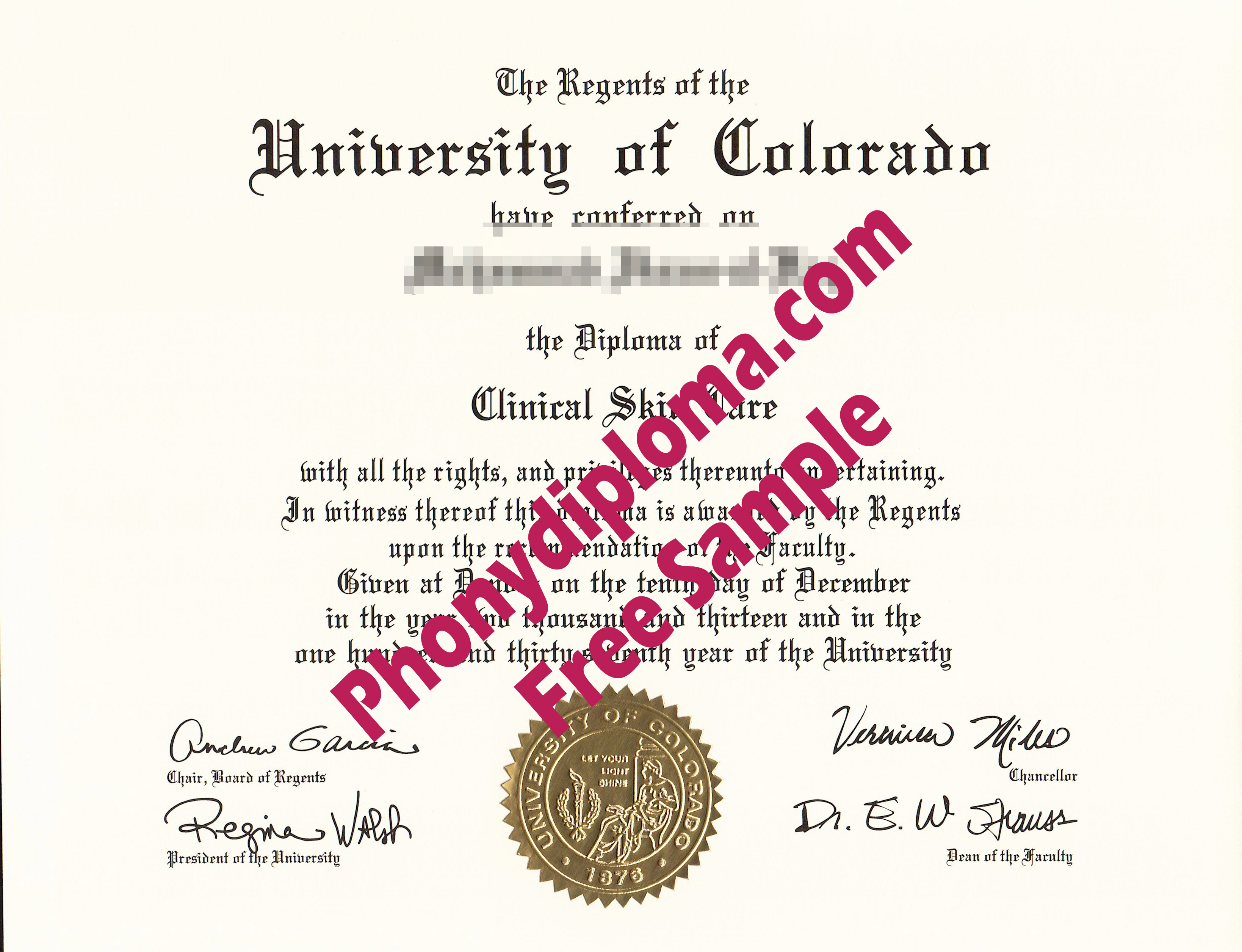 University Of Colorado Denver, Colorado Springs Free Sample From Phonydiploma