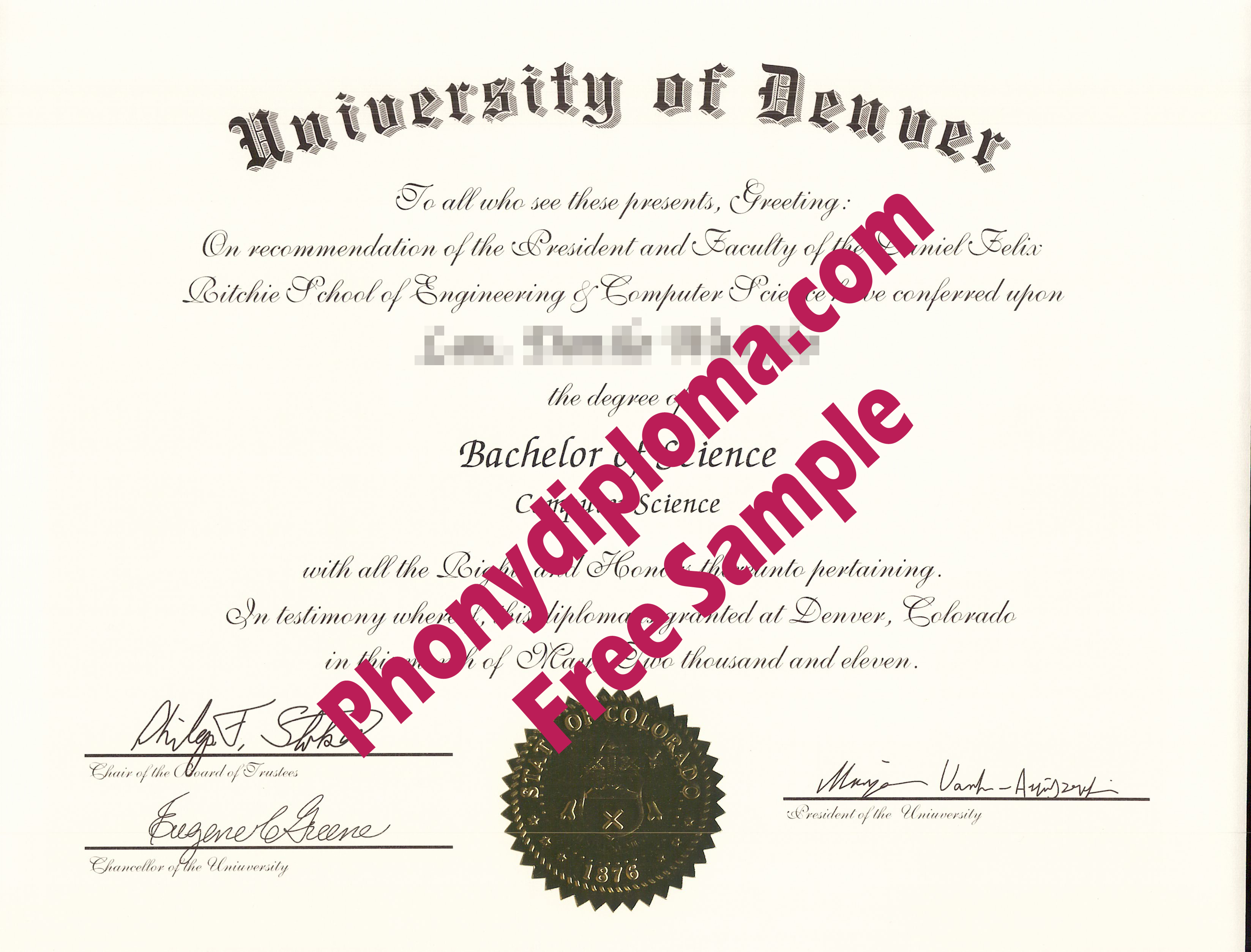University Of Denver Free Sample From Phonydiploma