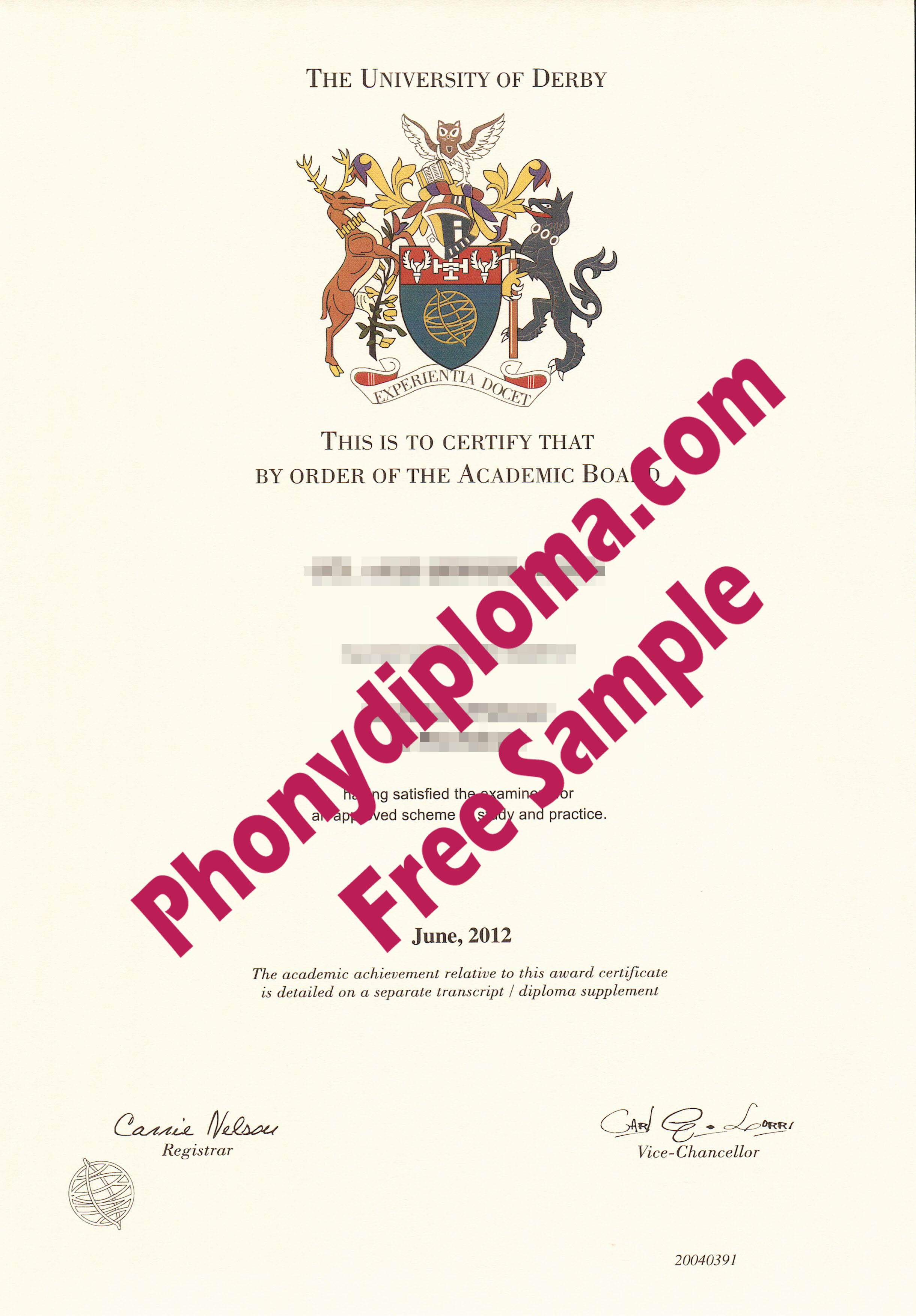 University Of Derby Free Sample From Phonydiploma