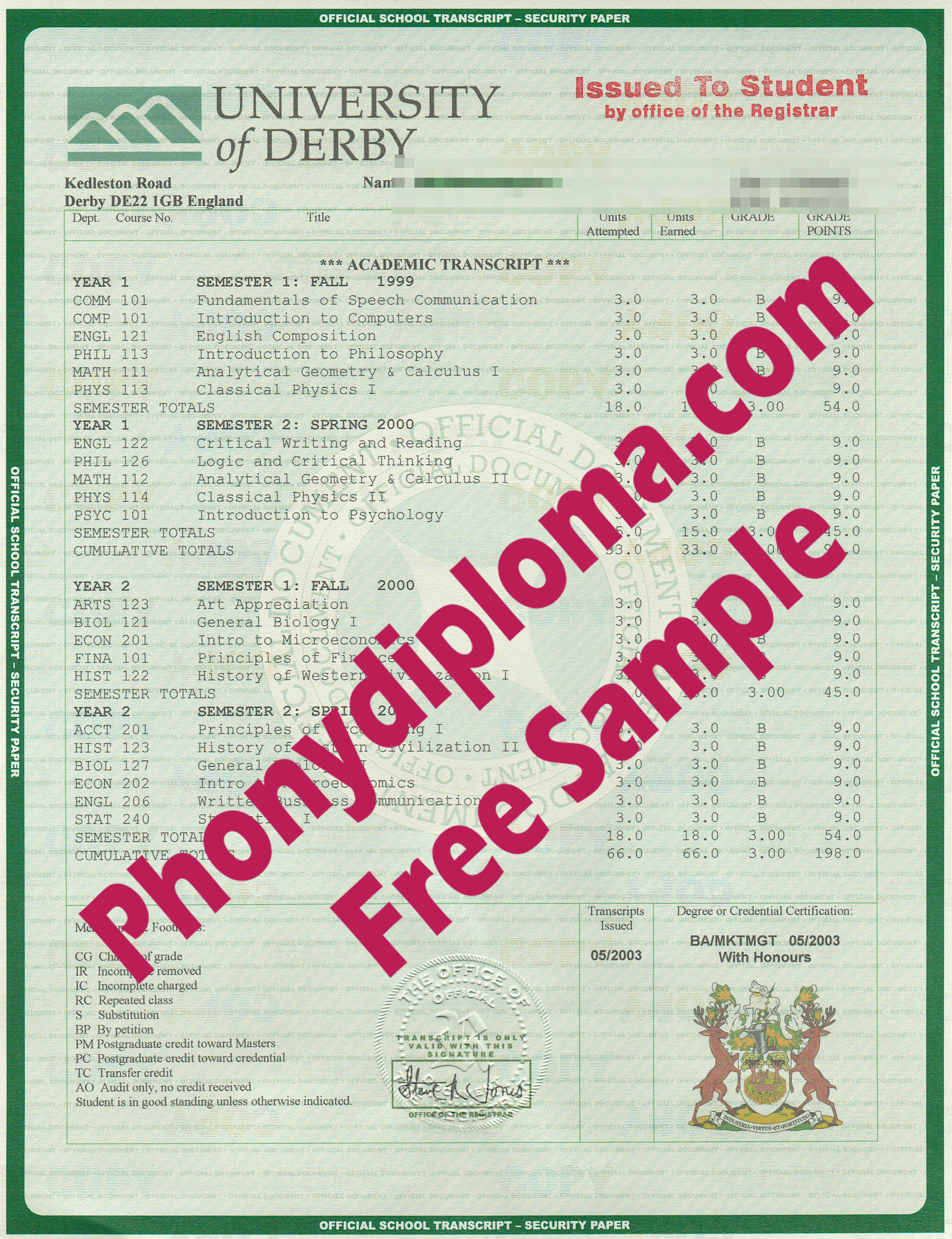 University Of Derby House Design Transcripts Free Sample From Phonydiploma