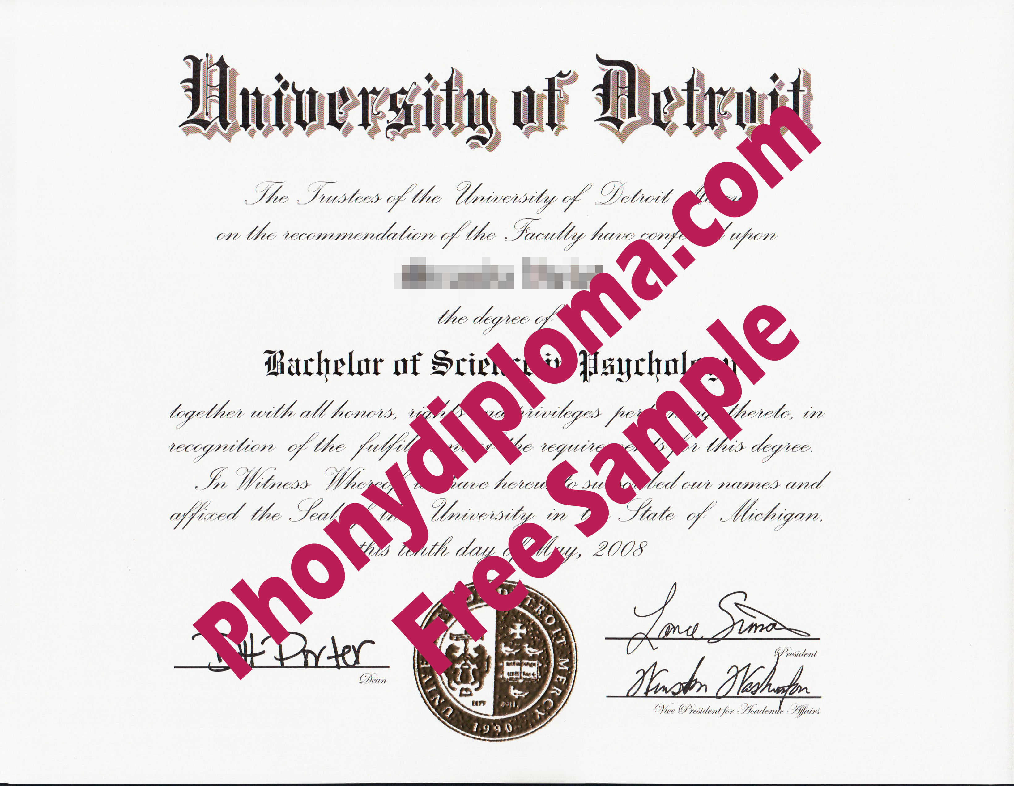 University Of Detroit Free Sample From Phonydiploma