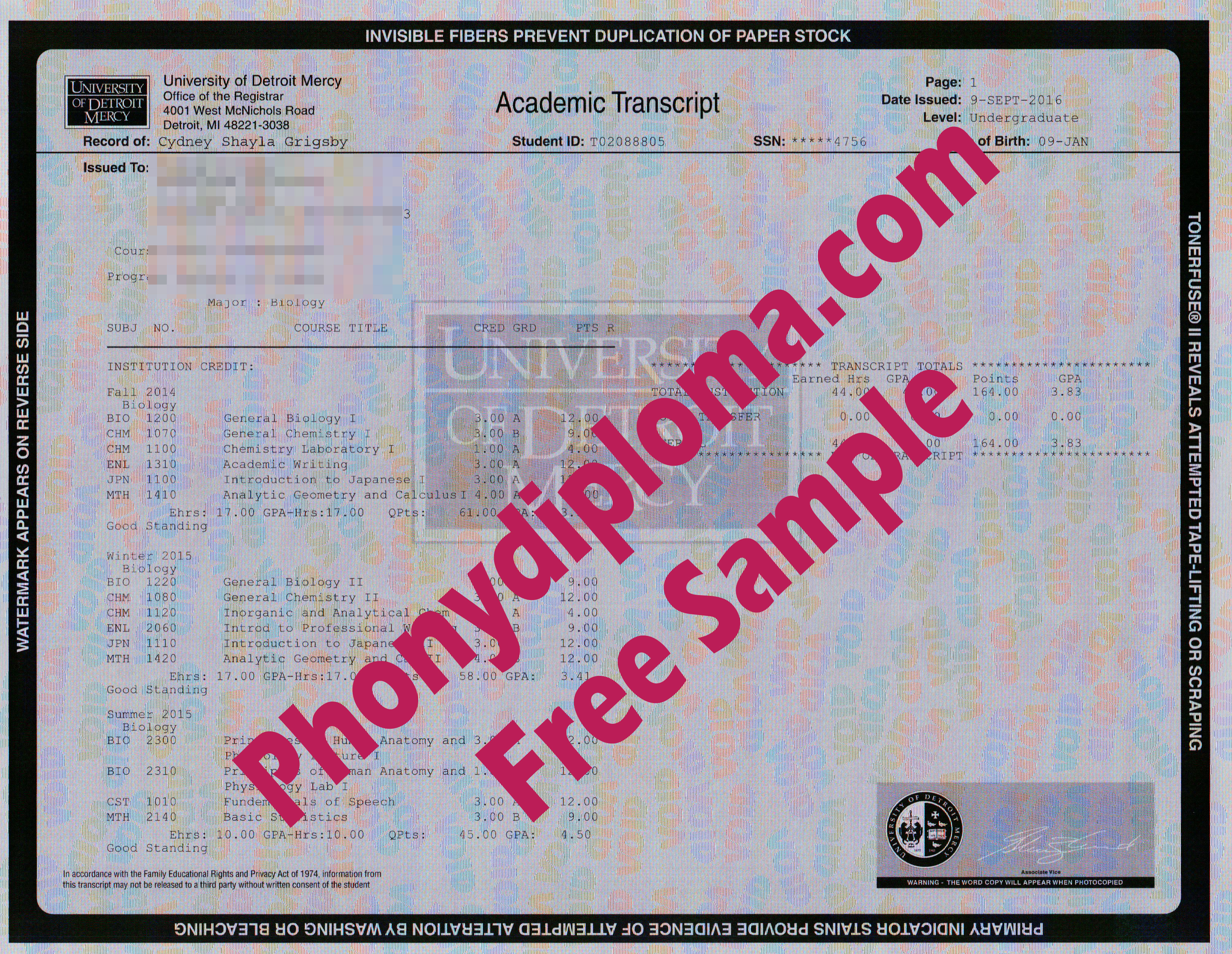 University Of Detroit Mercy Actual Match Transcripts Free Sample From Phonydiploma