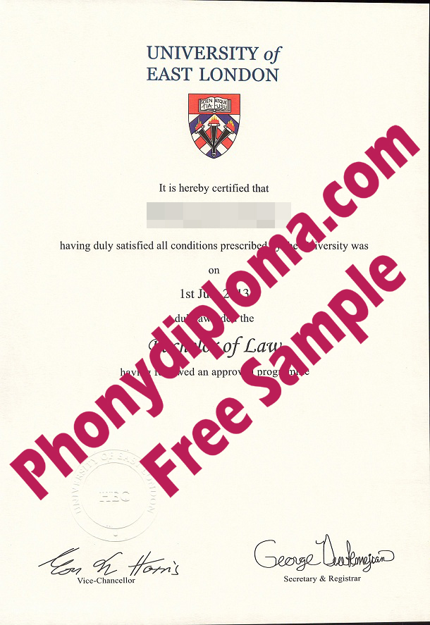 University Of East London Free Sample From Phonydiploma