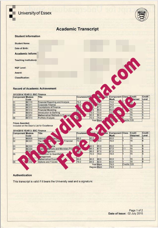 University Of Essex Actual Match Transcripts Free Sample From Phonydiploma
